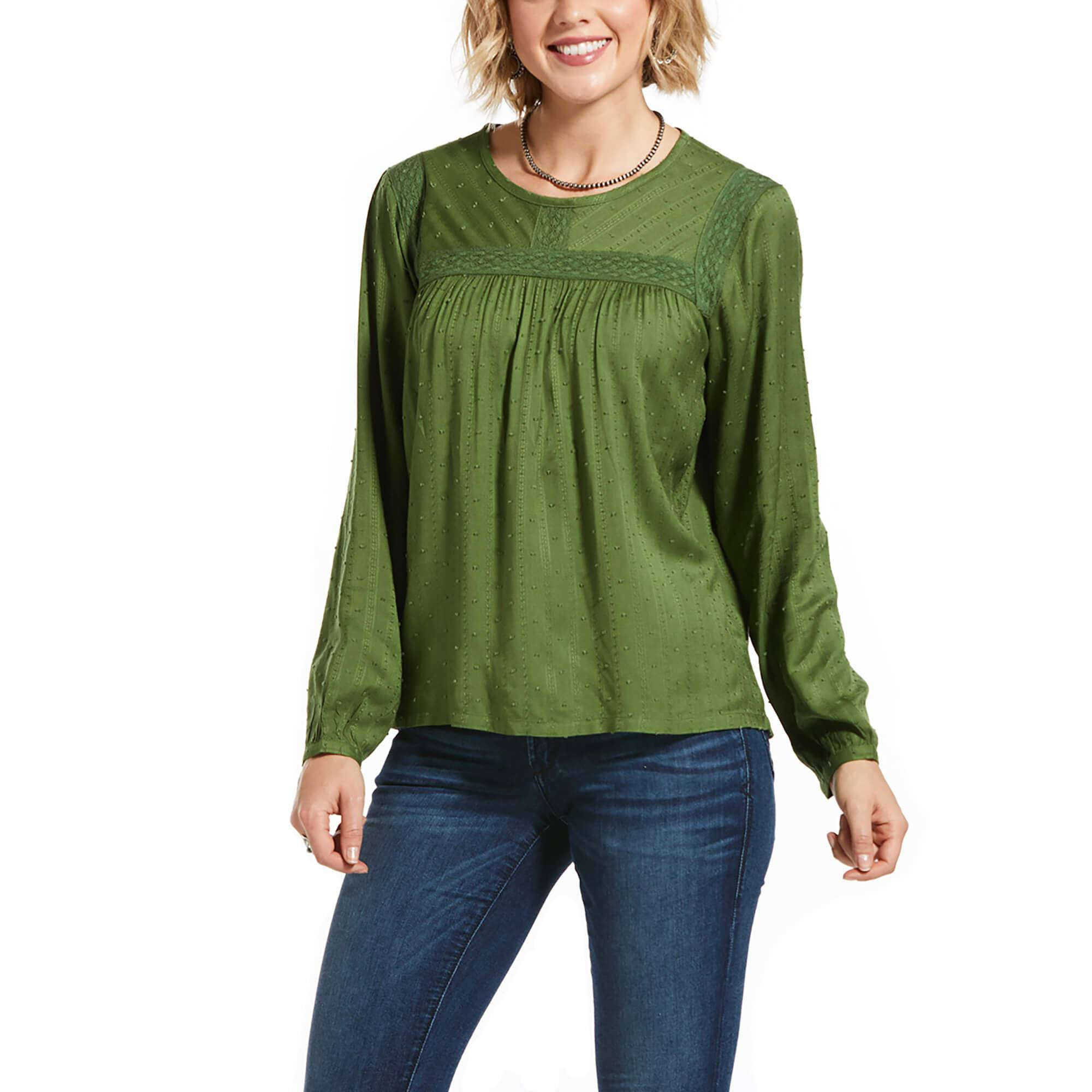 Ariat Women's Long Sleeve Meadow Top in Garden Green, 2X-Large by Ariat