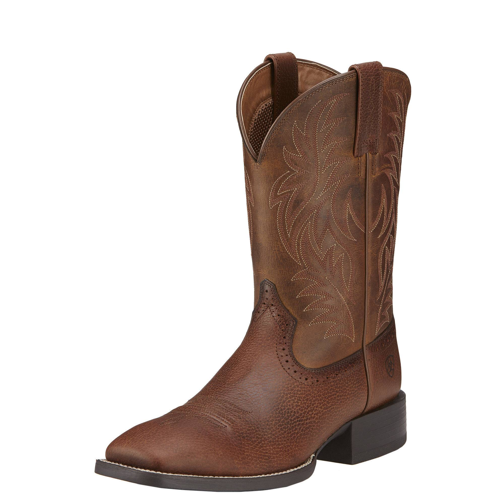 Ariat Men's Sport Wide Square Toe Western Boots in Fiddle Brown Leather, Size 11.5 D / Medium by Ariat