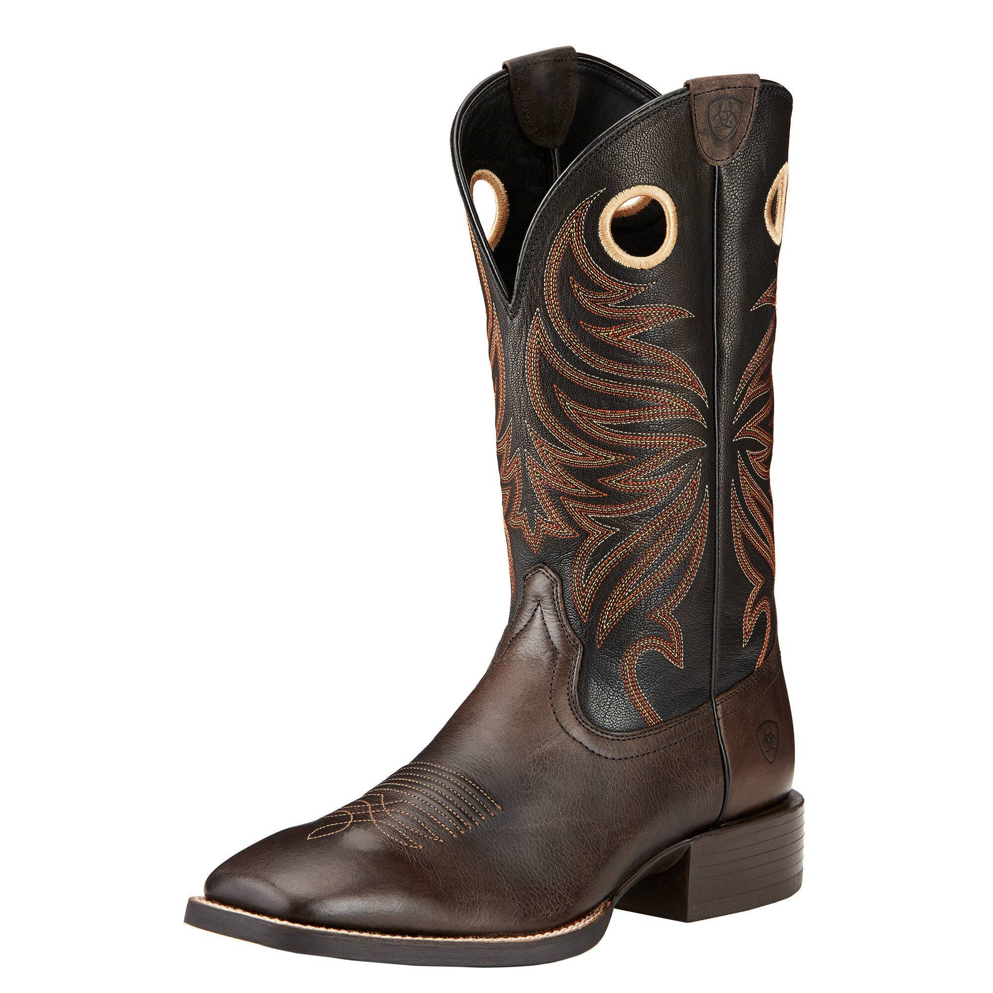 Ariat Men's Sport Rider Wide Square Toe Western Boots in Chocolate Leather, Size 11 EE / Wide by Ariat