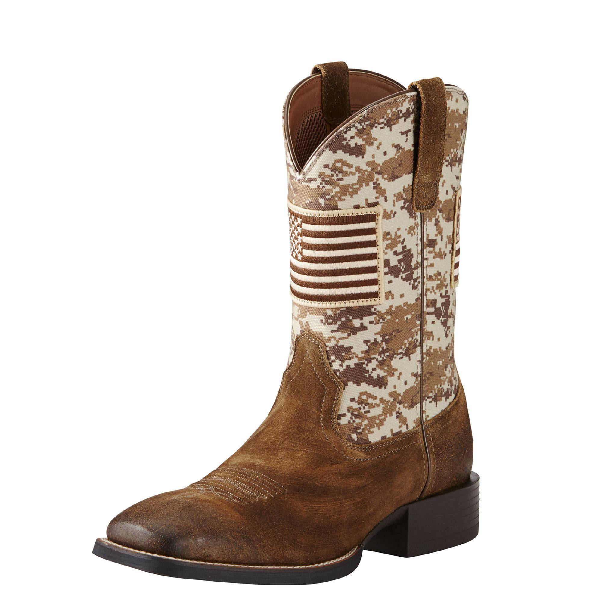Ariat Men's Sport Patriot Western Boots in Antique Mocha Suede Leather, Size 7 EE / Wide by Ariat