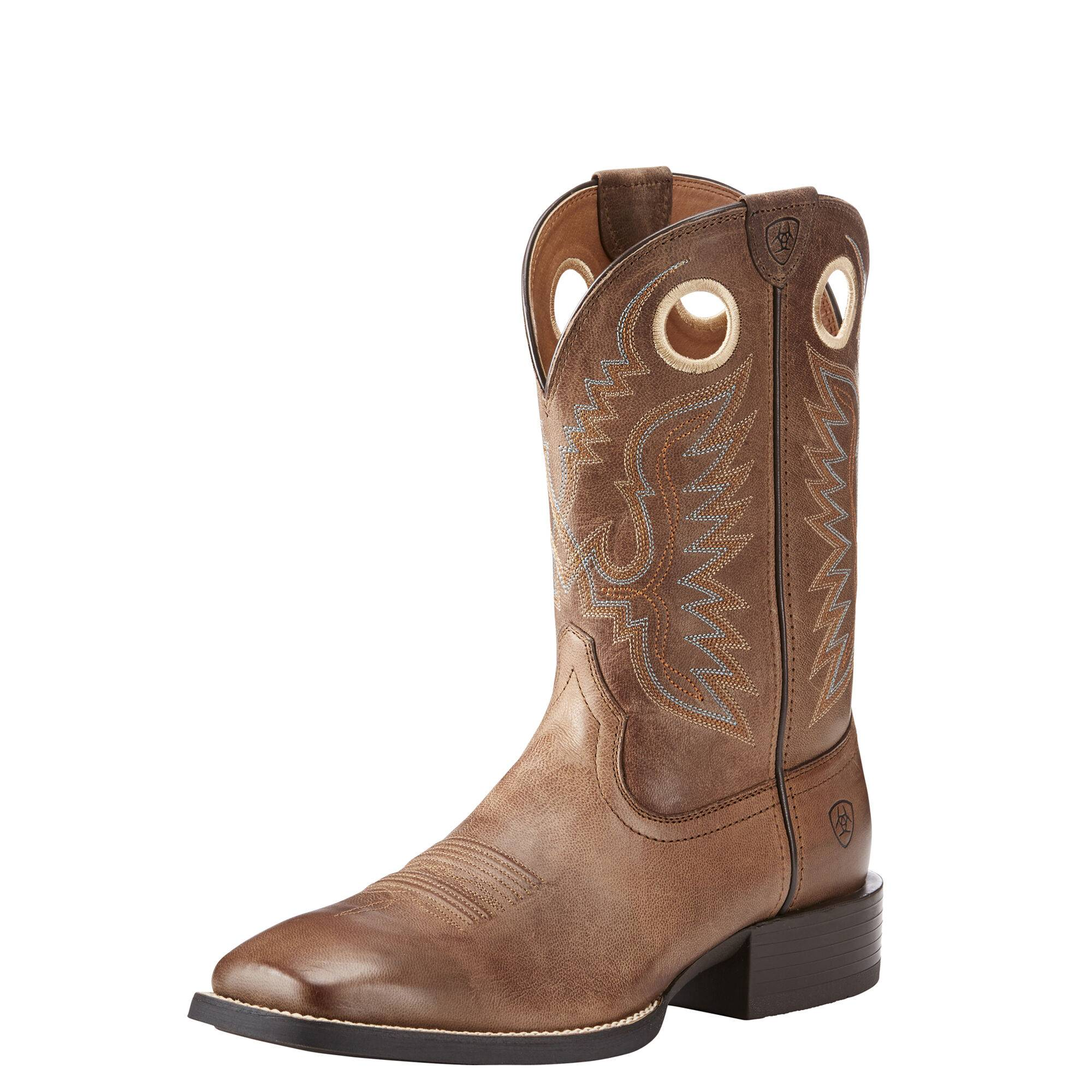 Ariat Men's Sport Ranger Western Boots in Roasted Brown Leather, Size 9 EE / Wide by Ariat