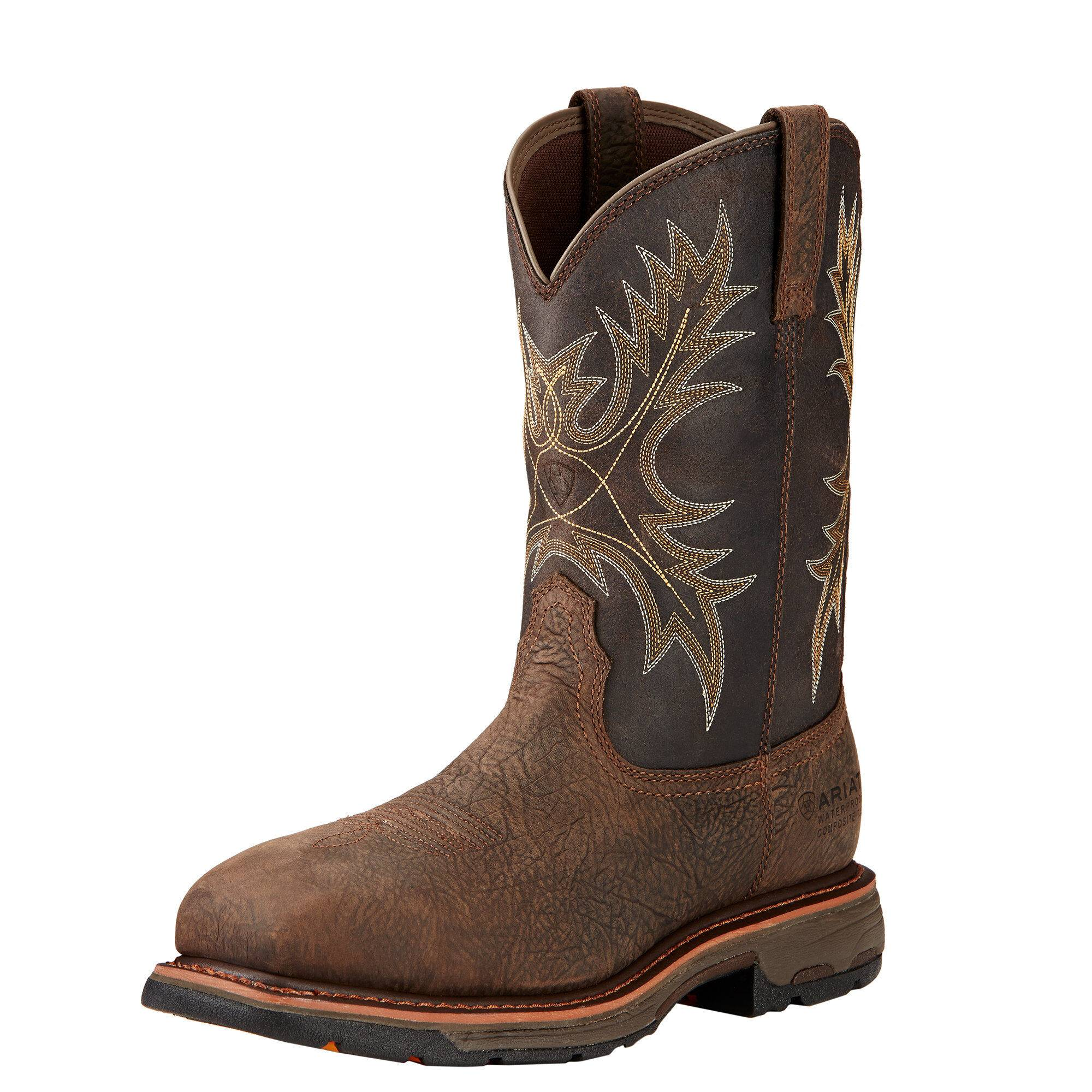 Ariat Men's WorkHog Waterproof Composite Toe Work Boots in Bruin Brown Leather, Size 10 B / Narrow by Ariat