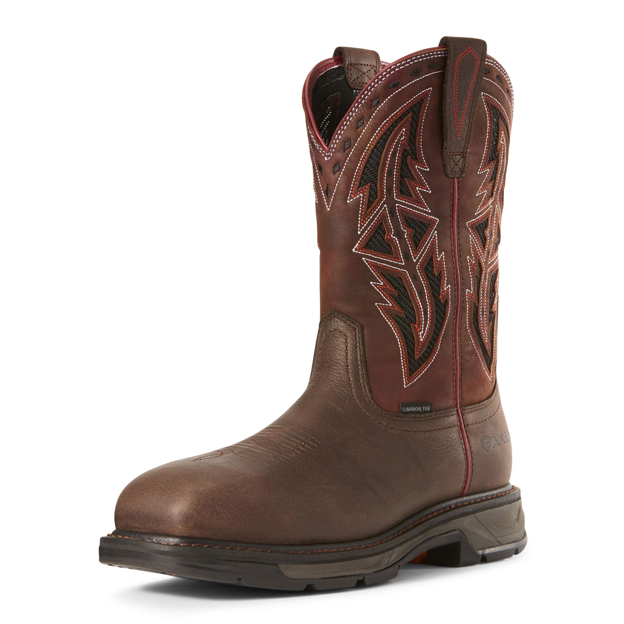 Ariat Men's WorkHog XT VentTEK Spear Carbon Toe Work Boots in Dark Chocolate Leather, Size 11.5 EE / Wide by Ariat
