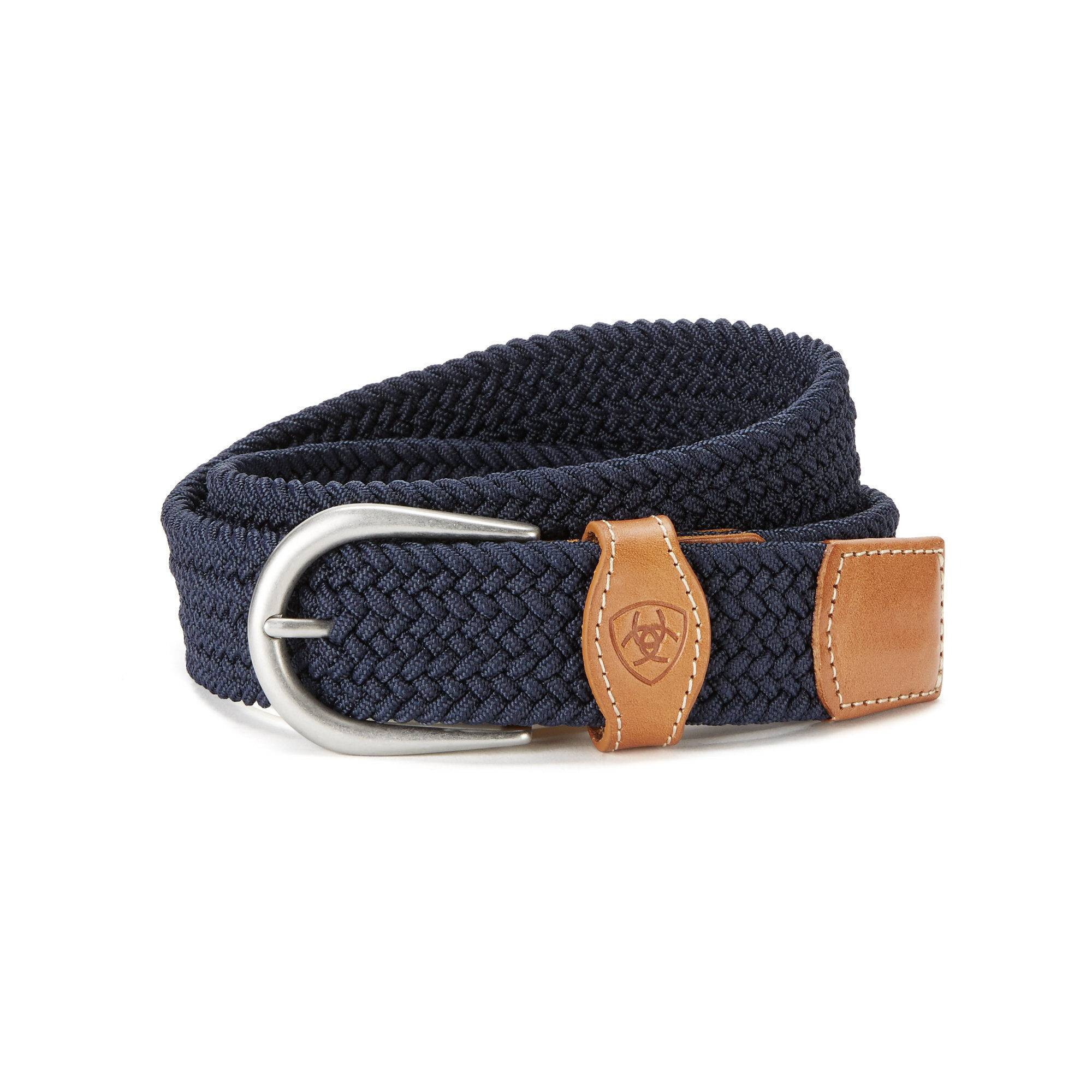 Ariat One Rail Woven Belt in Navy Blue Leather, Medium/Large by Ariat