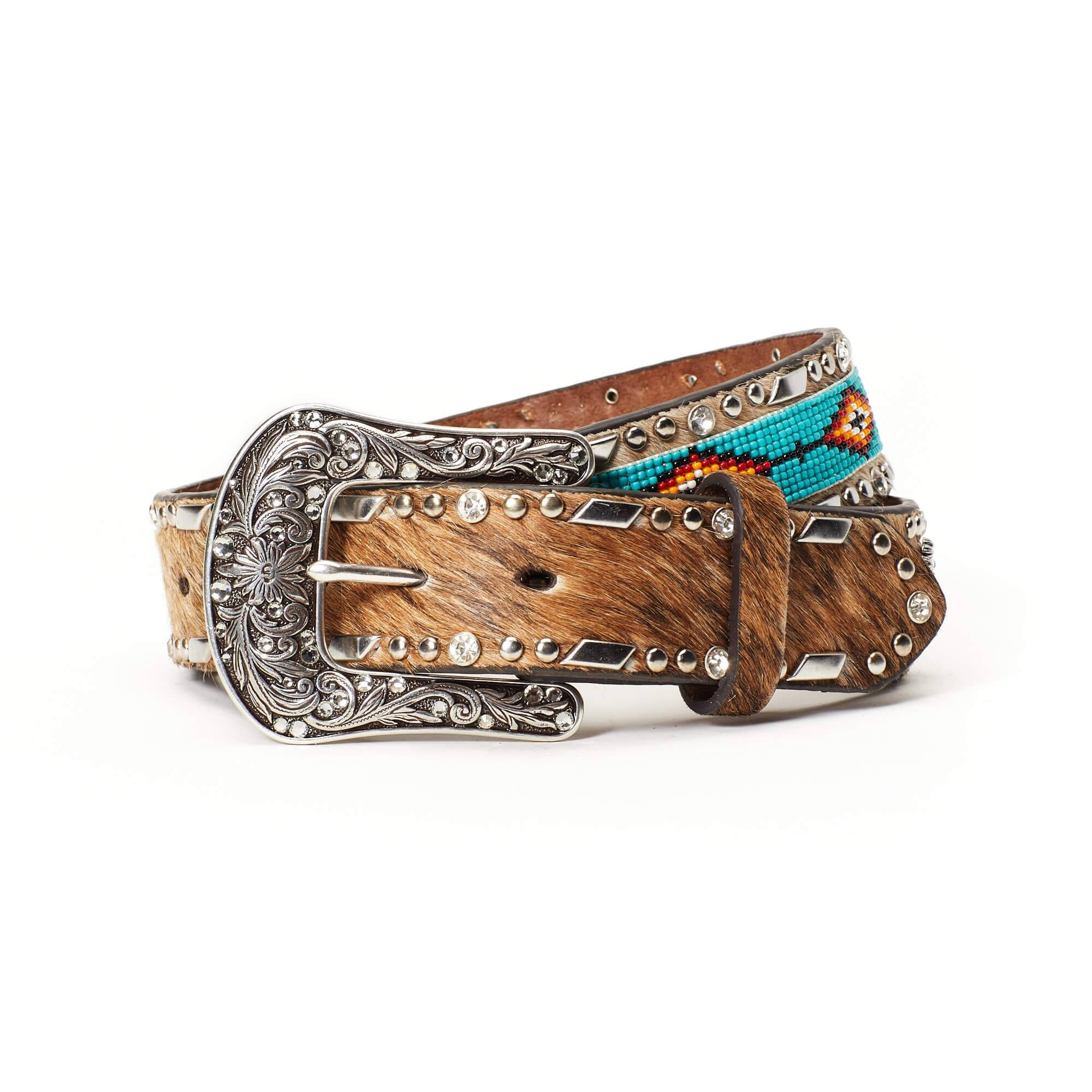 """Ariat Women's A.1 1/2""""mcchvrntqflrwcnctn Belt in Beaded Brown Leather, Small by Ariat"""