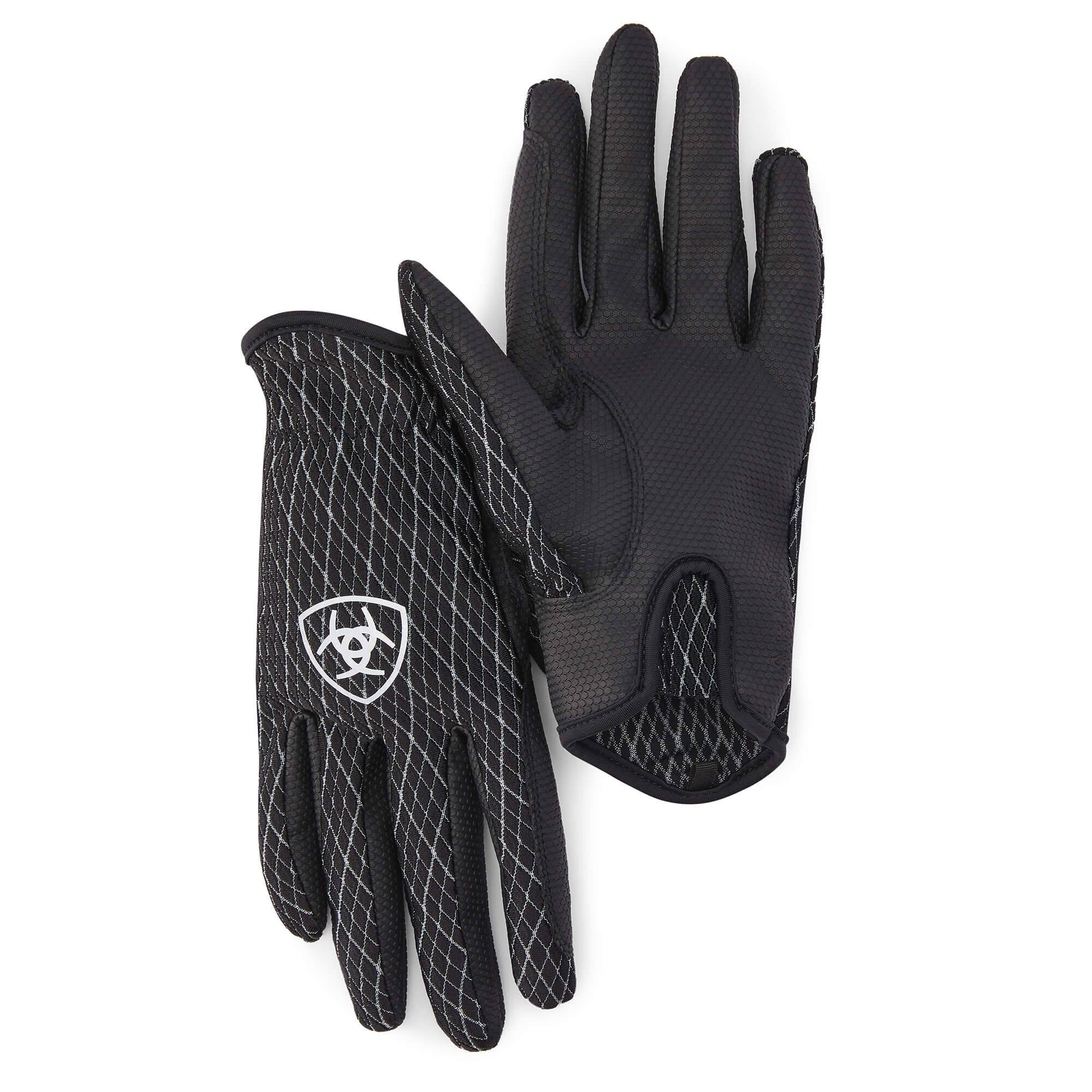 Ariat COOL Grip Gloves in Black White, Size 6.5 by Ariat