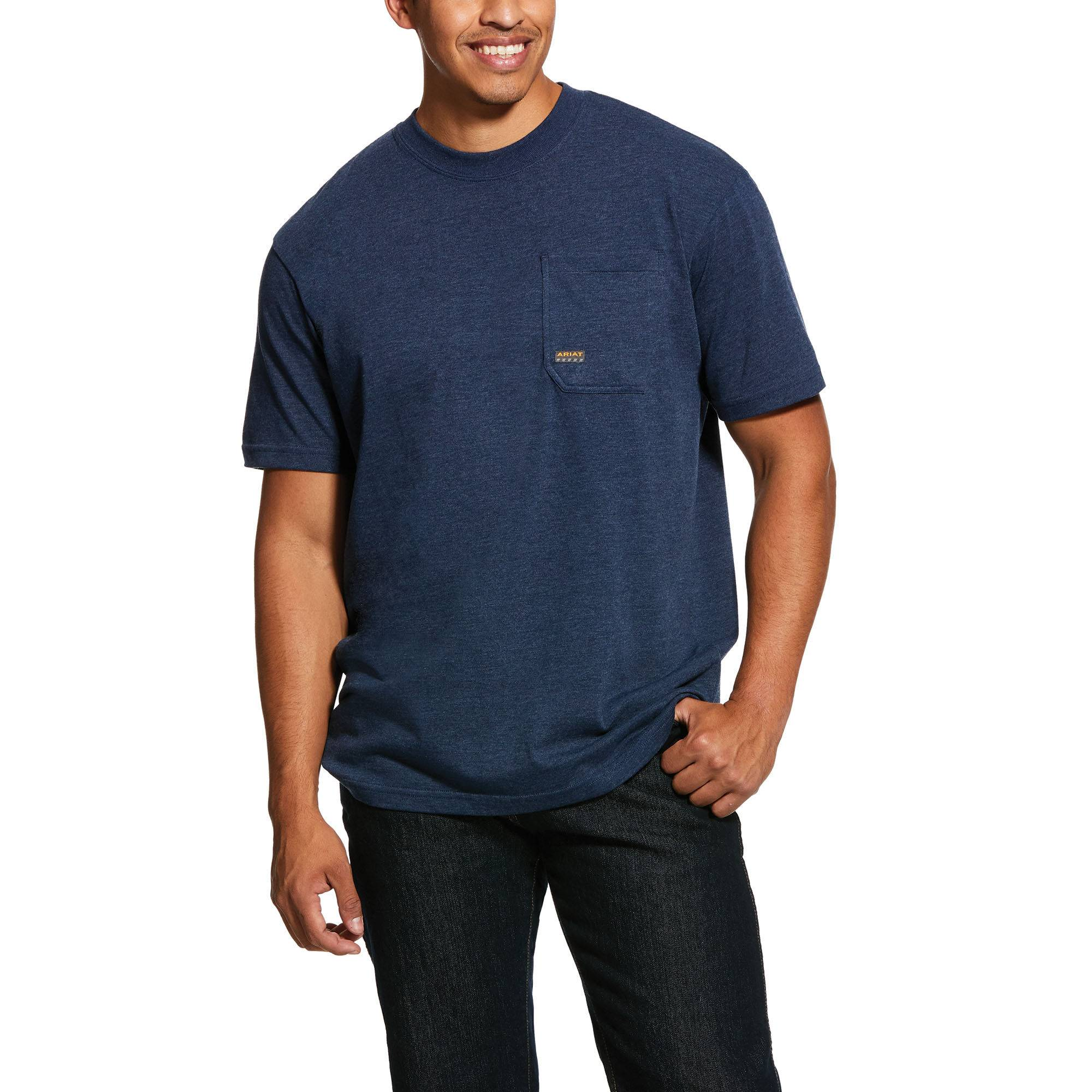 Ariat Men's Short Sleeve Rebar Cotton Strong American Grit Graphic T-Shirt in Navy Heather, Large by Ariat