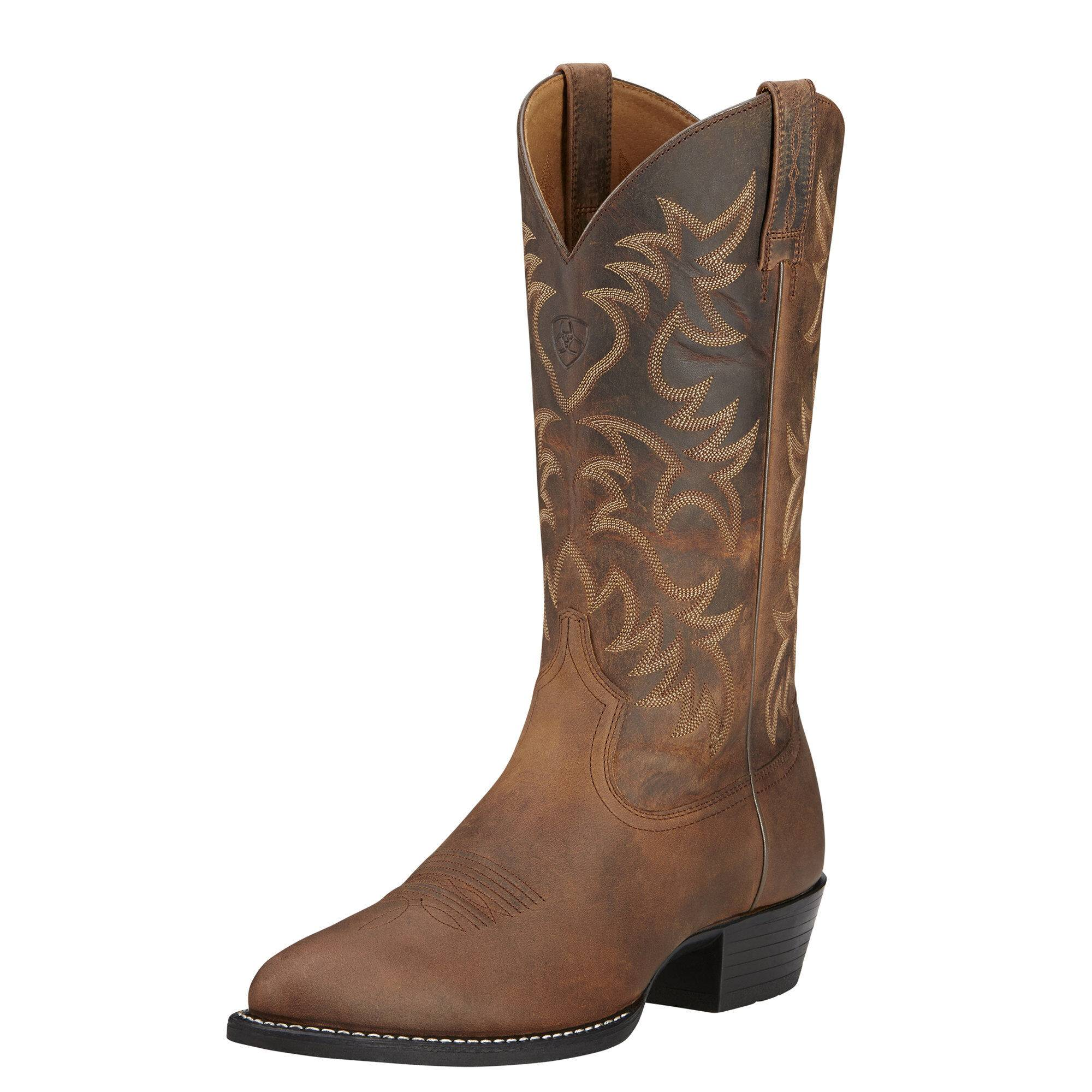 Ariat Men's Heritage R Toe Western Boots in Distressed Brown Leather, Size 9 EE / Wide by Ariat