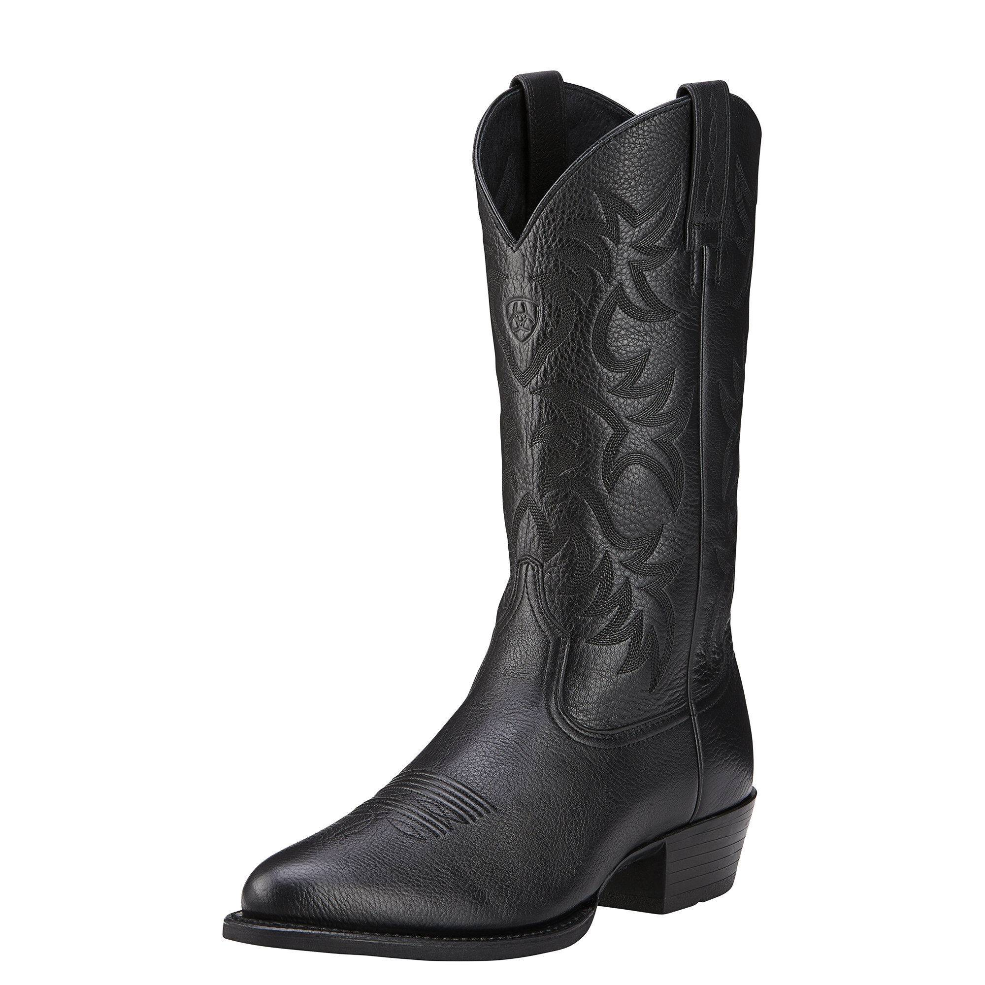 Ariat Men's Heritage R Toe Western Boots in Black Deertan Leather, Size 8 D / Medium by Ariat