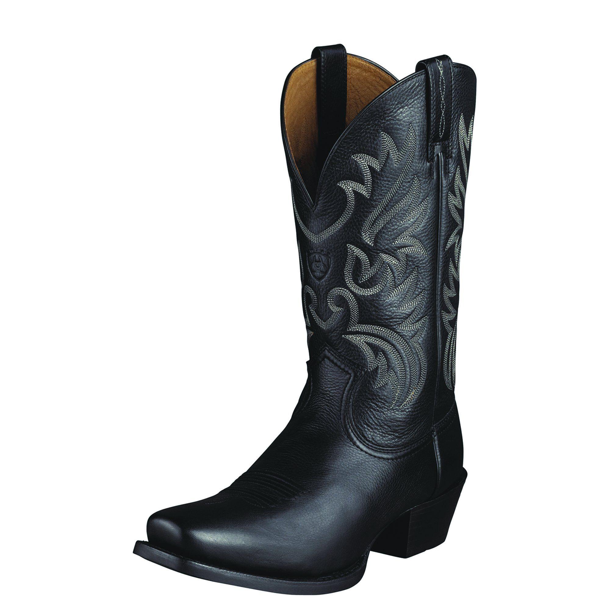Ariat Men's Legend Western Boots in Black Deertan Leather, Size 9.5 D / Medium by Ariat