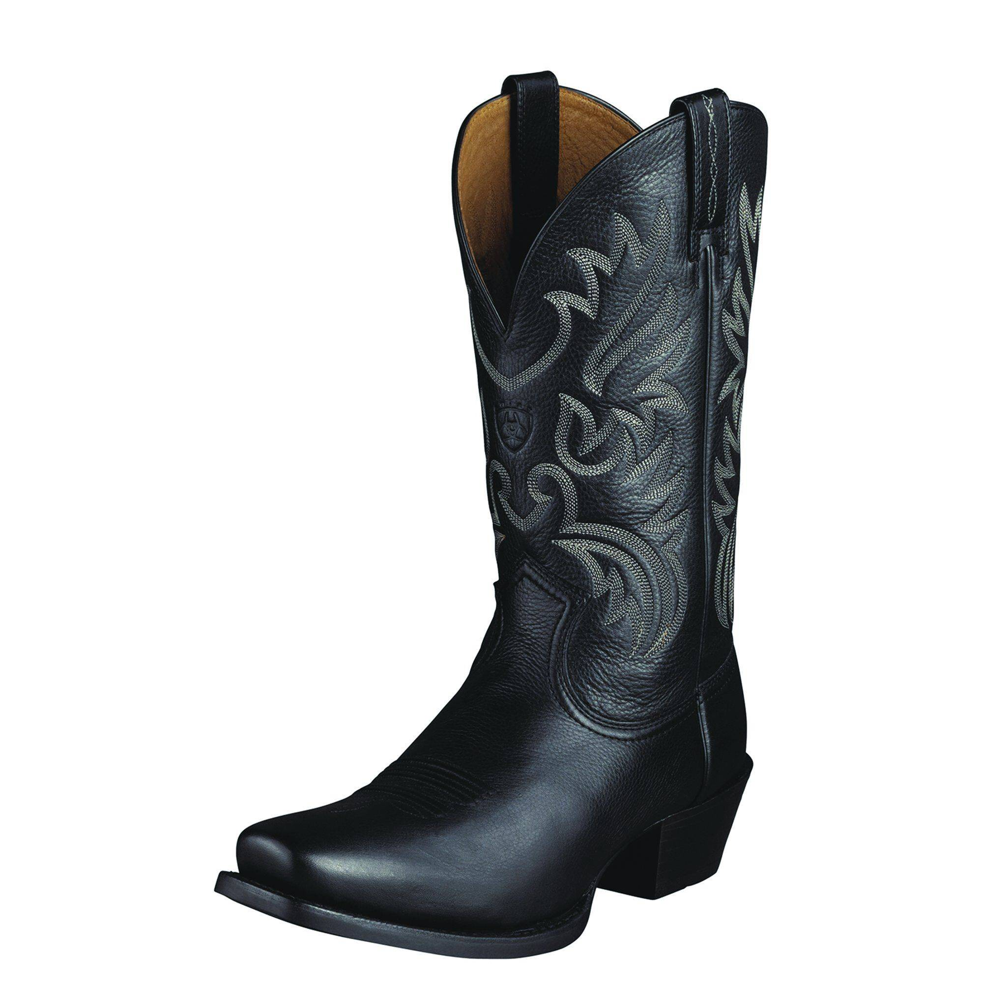 Ariat Men's Legend Western Boots in Black Deertan Leather, Size 11 D / Medium by Ariat