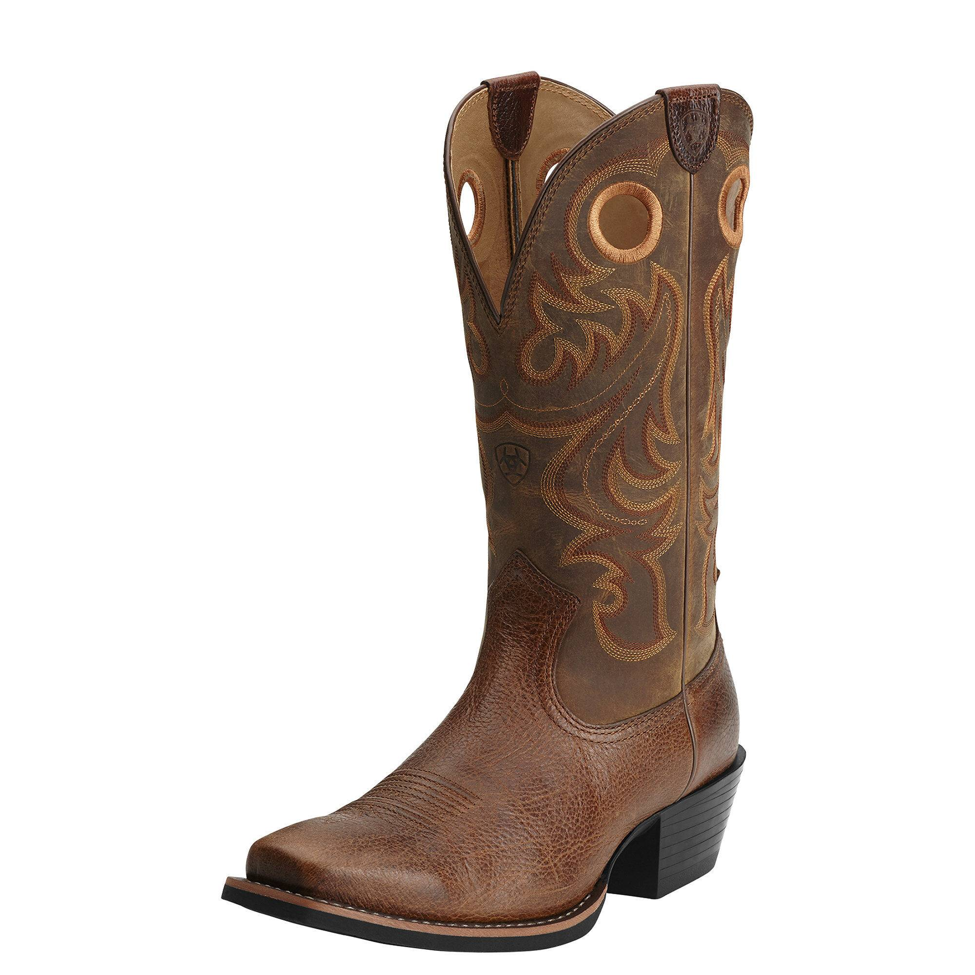 Ariat Men's Sport Square Toe Western Boots in Fiddle Brown Leather, Size 10.5 D / Medium by Ariat
