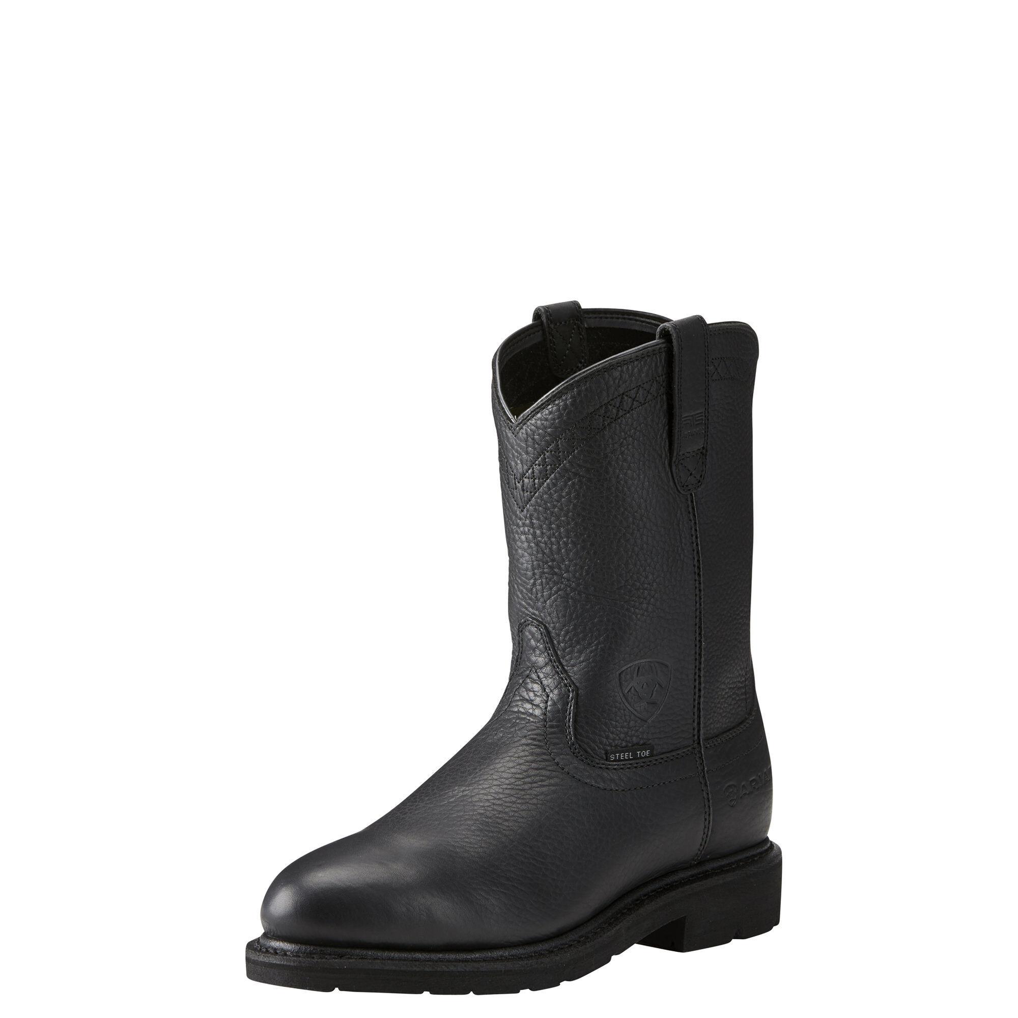 Ariat Men's Sierra Steel Toe Work Boots in Black Leather, Size 7.5 D / Medium by Ariat