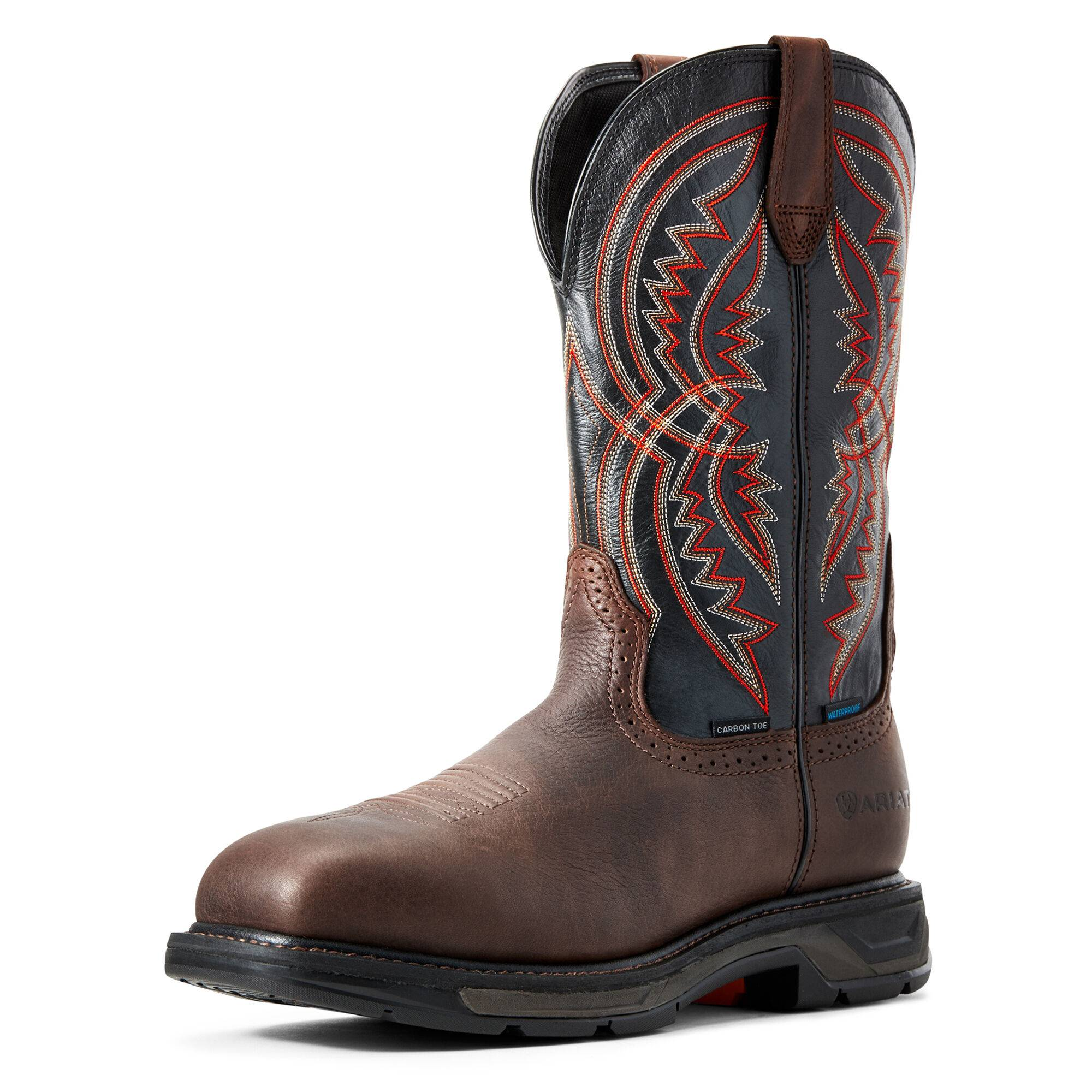 Ariat Men's WorkHog XT Coil Waterproof Carbon Toe Work Boots in Briar Brown Leather, Size 8 D / Medium by Ariat