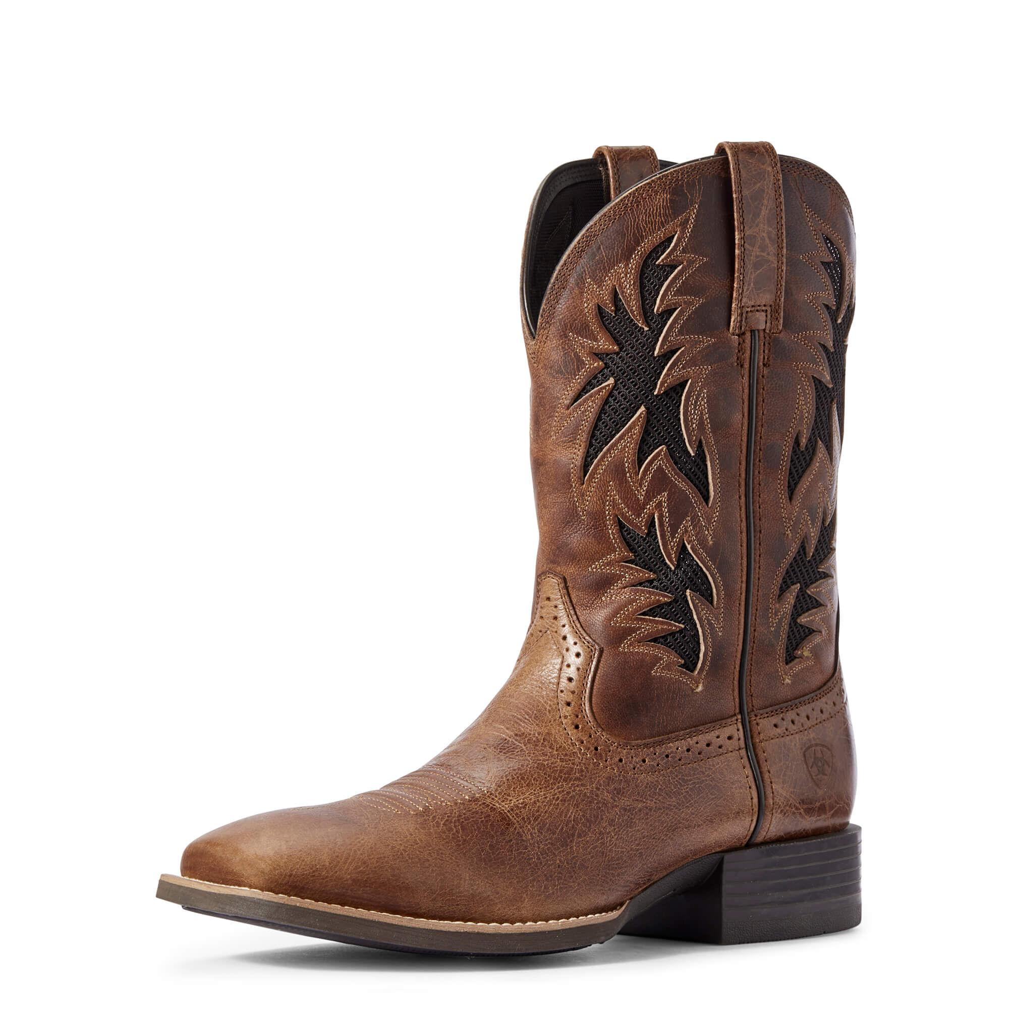 Ariat Men's Sport Cool VentTEK Western Boots in Dark Tan Leather, Size 9 EE / Wide by Ariat