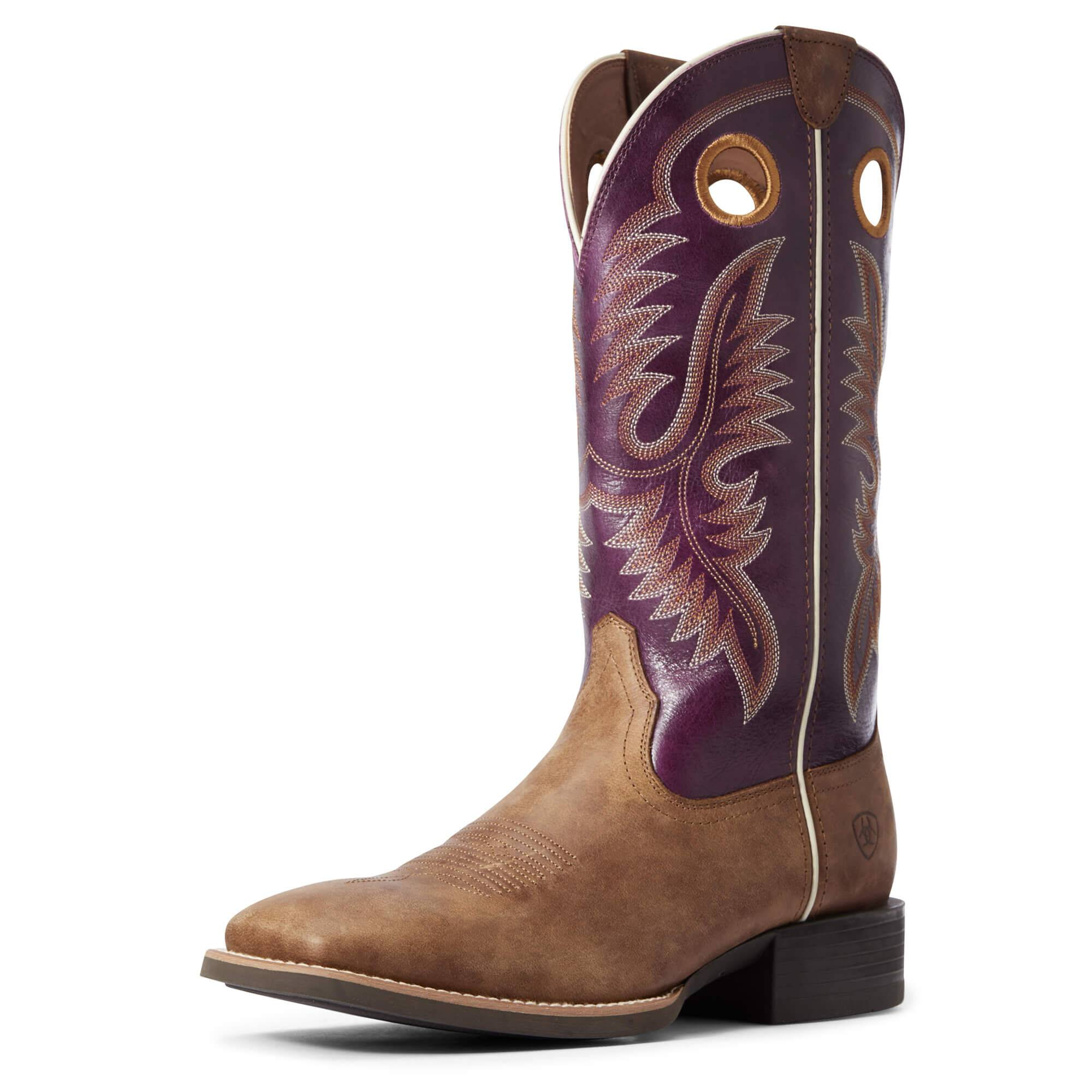 Ariat Men's Sport Teamster Western Boots in Valley Brown Leather, Size 7.5 EE / Wide by Ariat