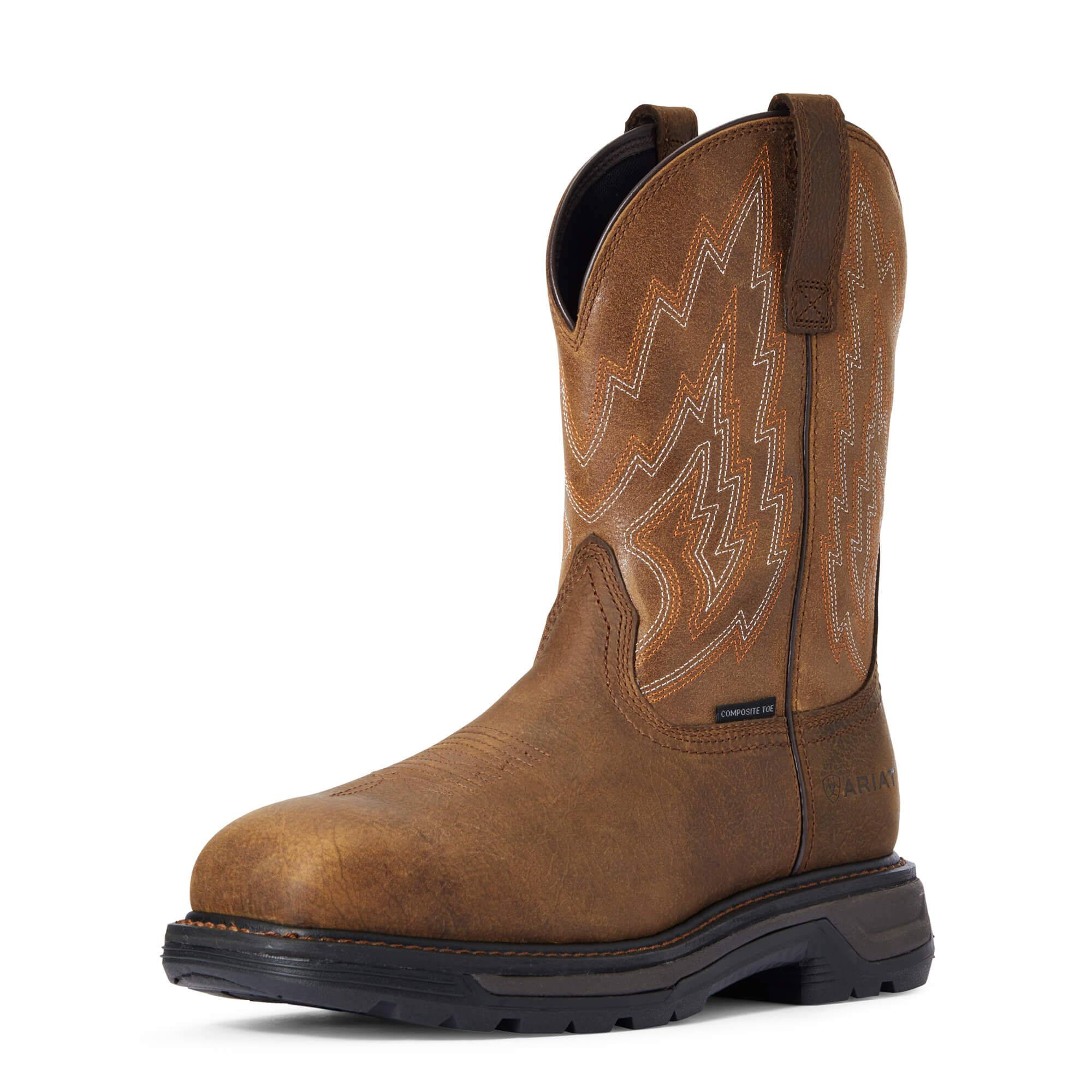 Ariat Men's Big Rig Composite Toe Work Boots in Rye Brown Leather, Size 12 EE / Wide by Ariat