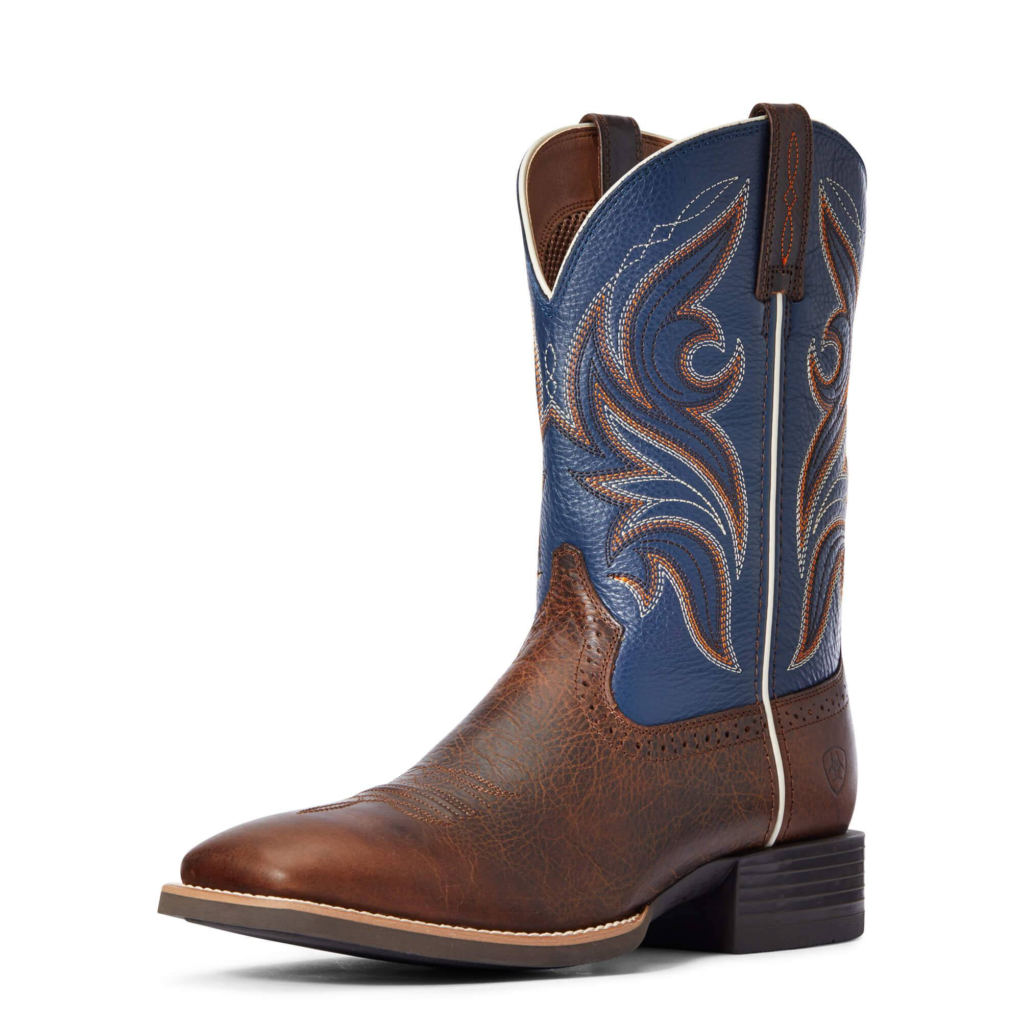 Ariat Men's Sport Knockout Western Boots in Dark Whiskey Leather, Size 8.5 EE / Wide by Ariat