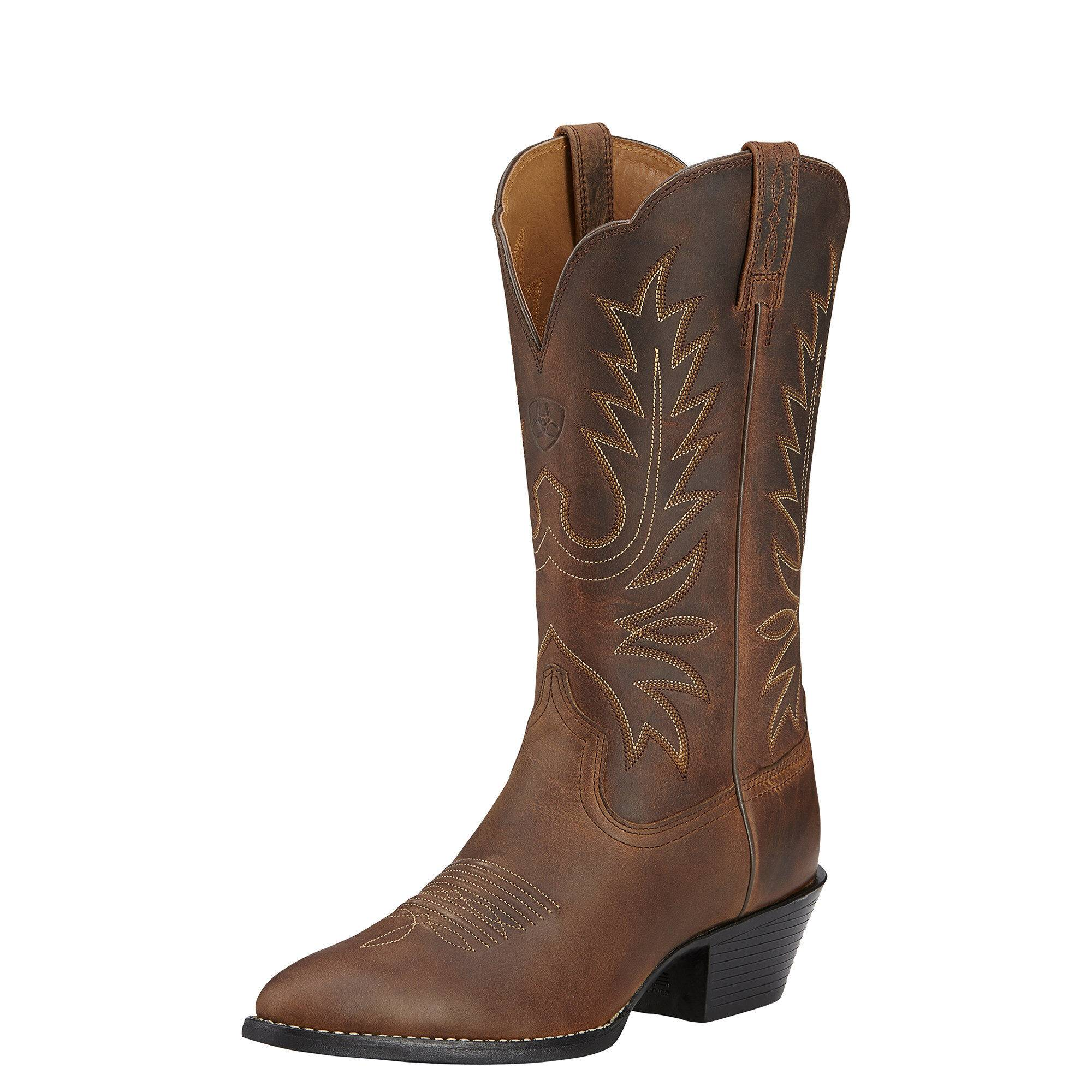 Ariat Women's Heritage R Toe Western Boots in Distressed Brown, Size 9 B / Medium by Ariat
