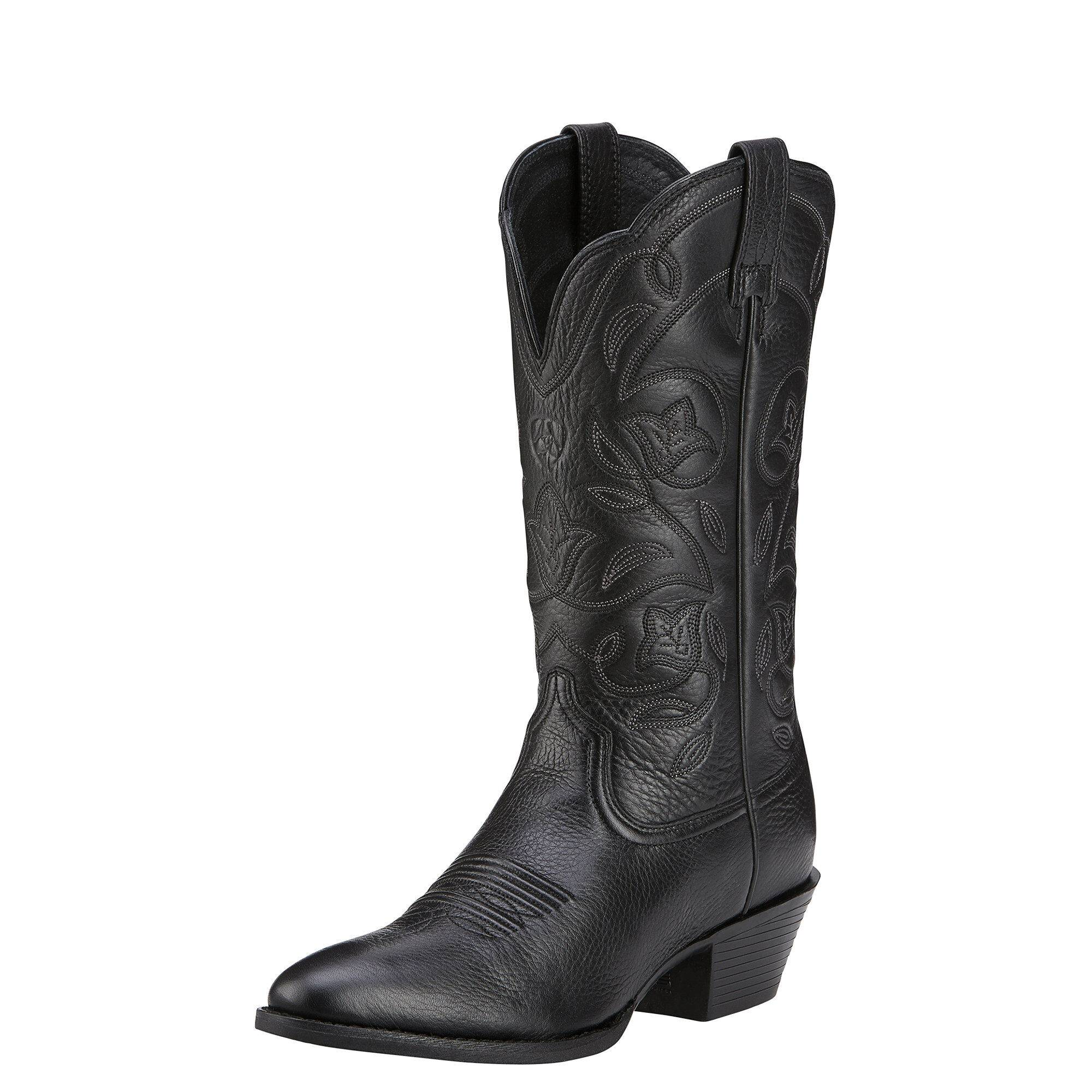 Ariat Women's Heritage R Toe Western Boots in Black Deertan, Size 10 B / Medium by Ariat