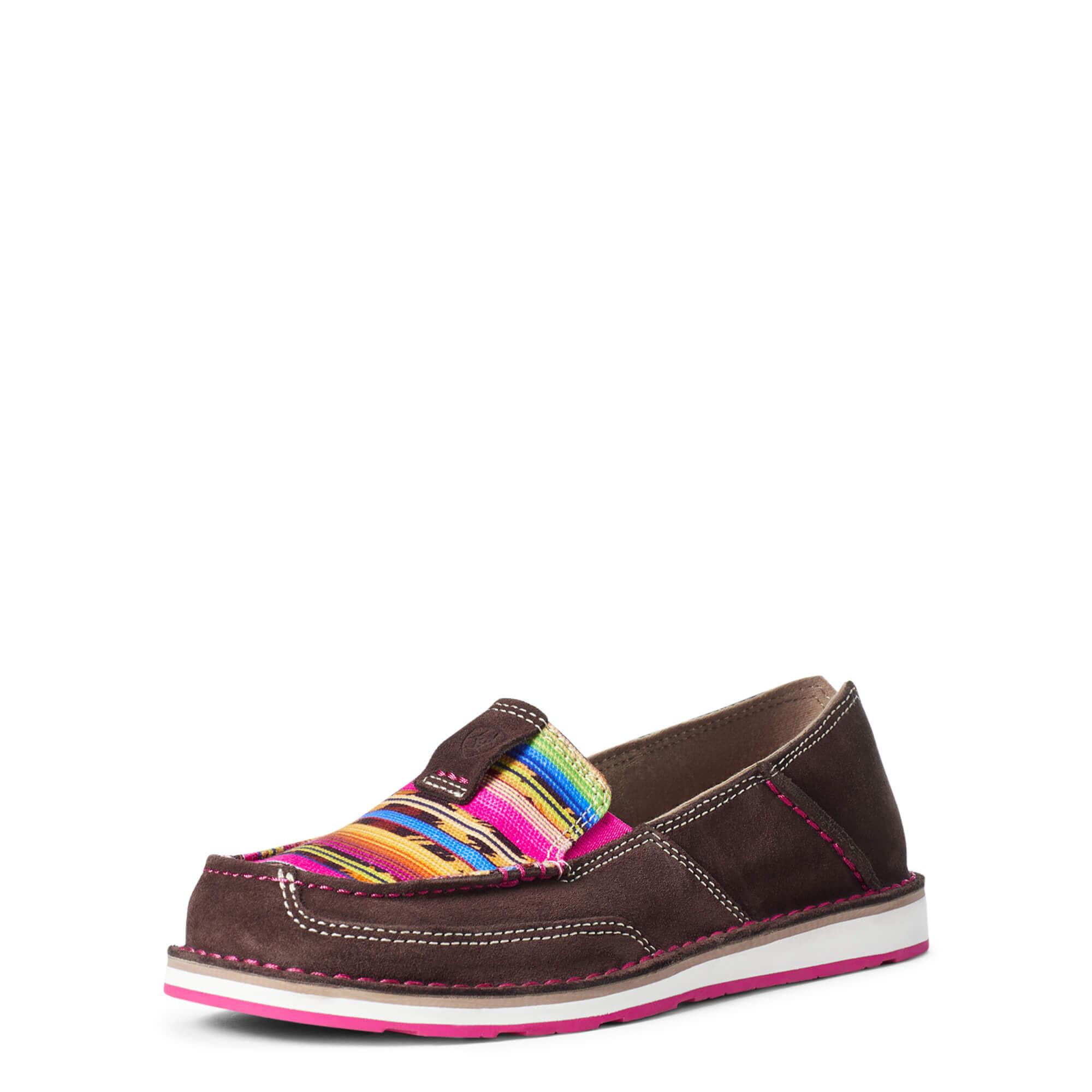 Ariat Women's Cruiser Shoes in Coffee Bean Suede Cheetah Serape Leather, Size 6 B / Medium by Ariat
