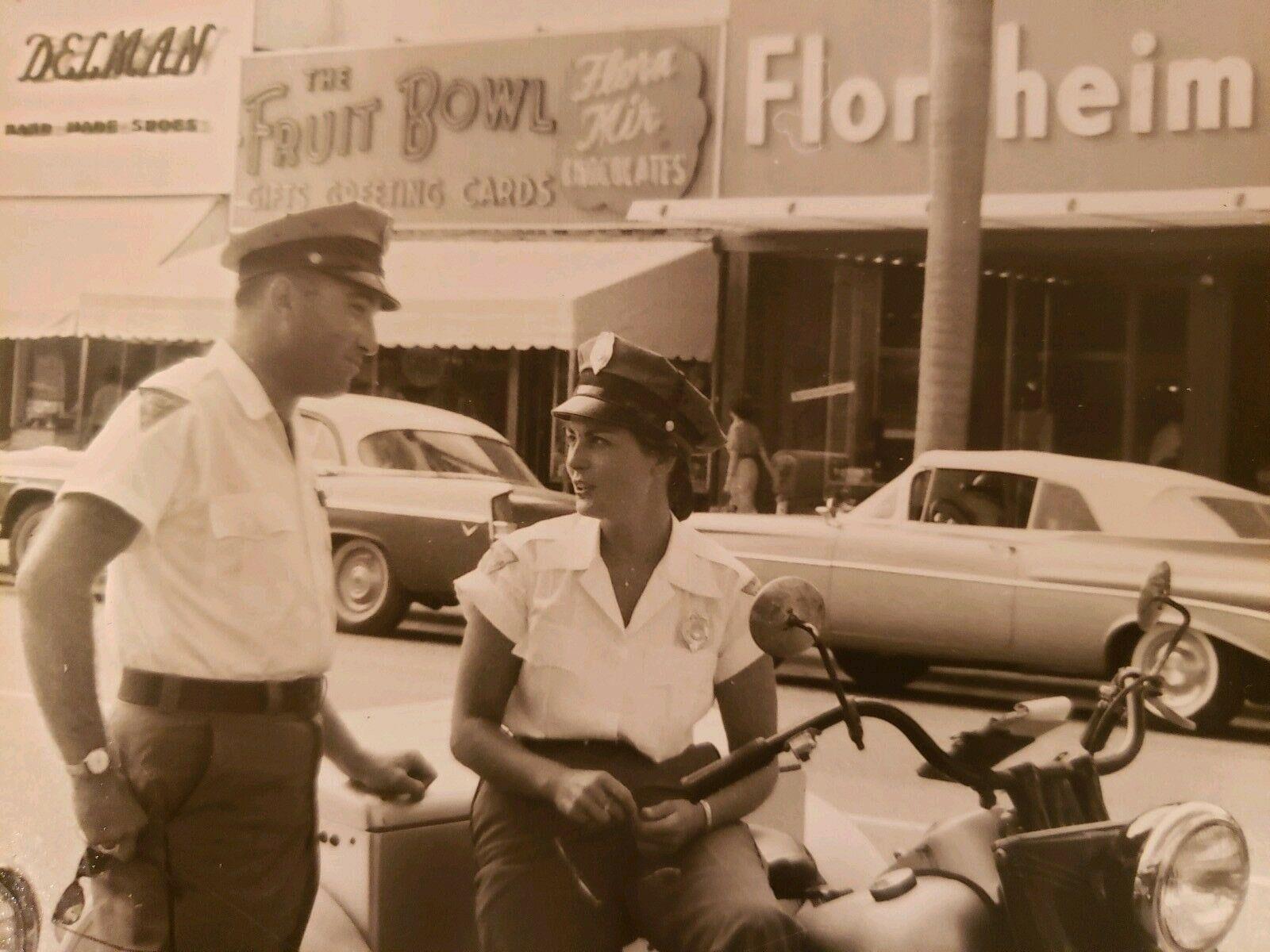 VINTAGE LOS ANGELES CA OR FL POLICEWOMAN TICKET MOTORCYCLE BIKE VERNACULAR PHOTO   [ ]