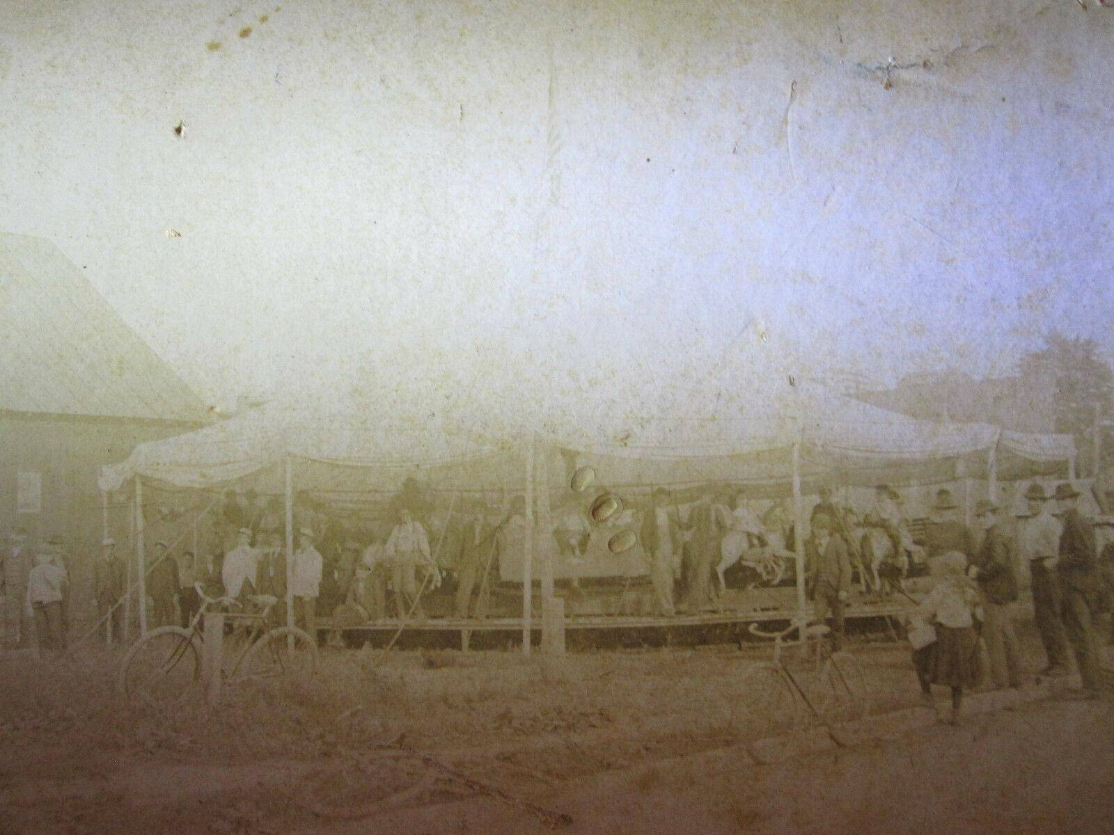 Antique AMERICAN CIRCUS CARNIVAL MERRY GO ROUND HORSE BIKE EDWARDIAN RARE PHOTO   [ ]