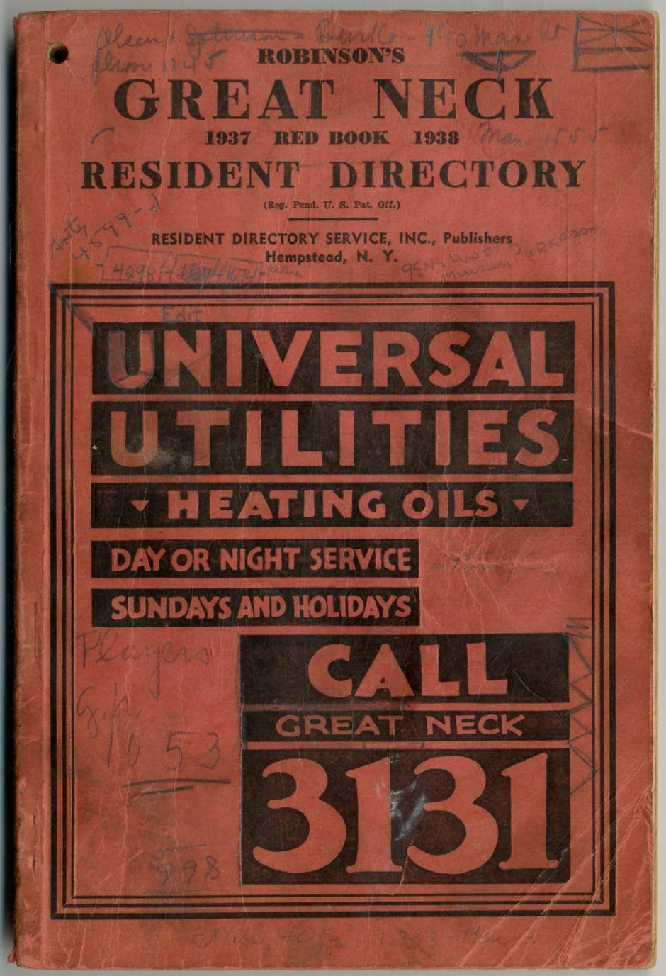 [Business and Phone Directory]: Robinson's Great Neck 1937-1938 Red Book Resident Directory   [Near Fine] [Softcover]