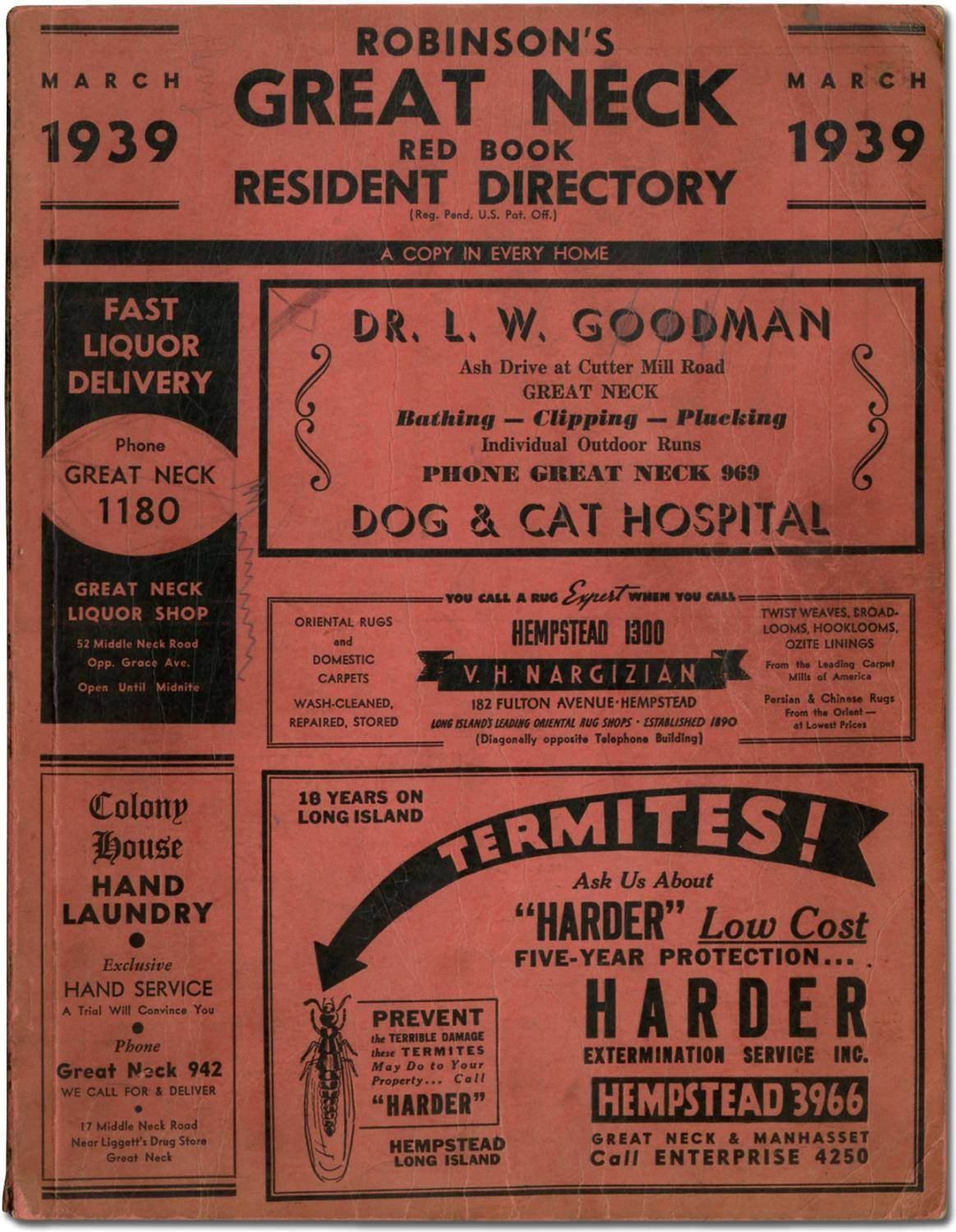 [Business and Phone Directory]: Robinson's Great Neck Red Book Resident Directory. March 1939   [Very Good] [Softcover]