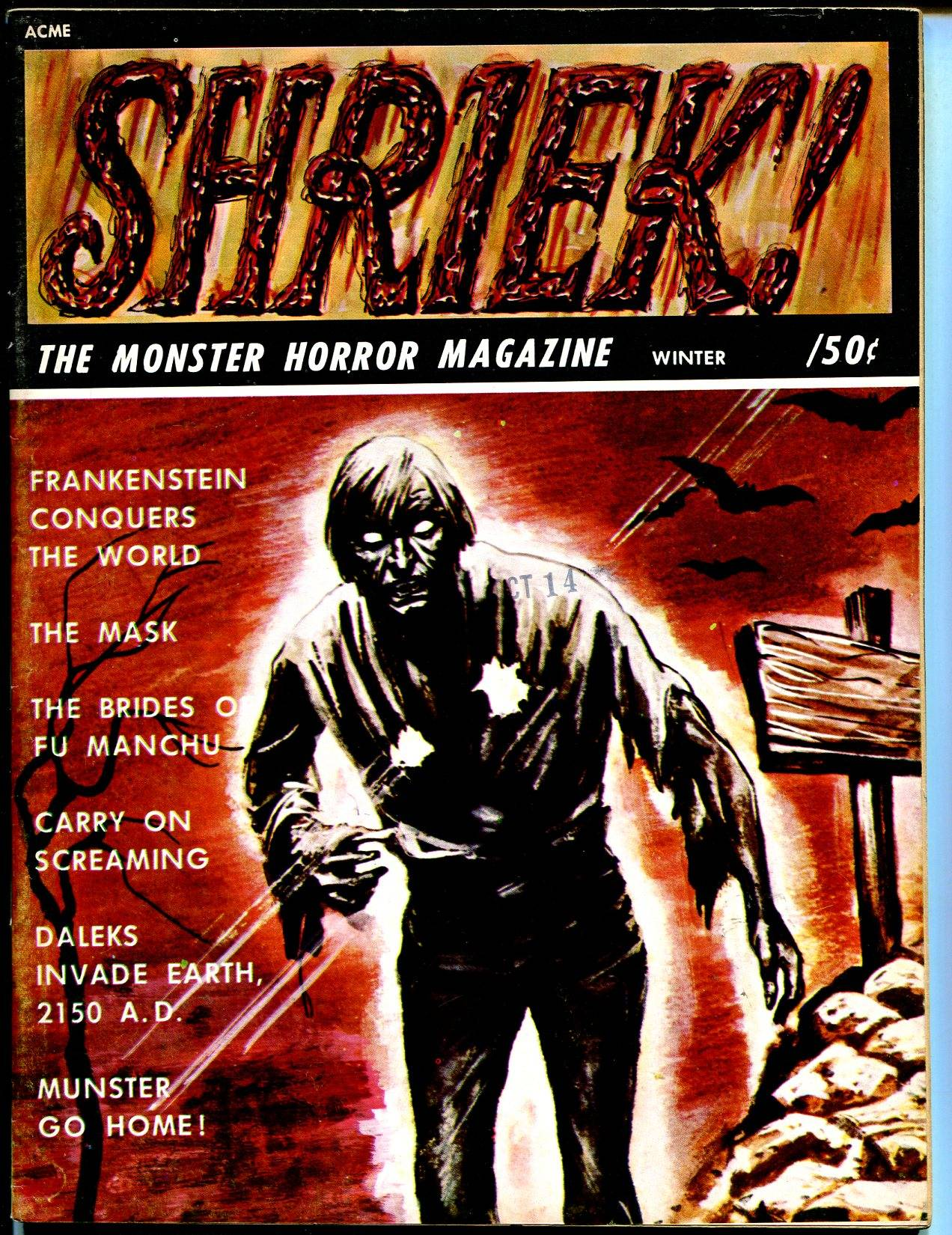 Shriek! #4 1967-Frankenstein-Munsters-Dr Who-Fu Manchu-horror movies-VF   [As New]
