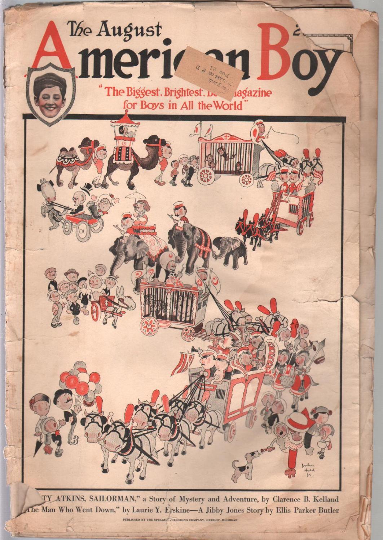 American Boy1/1921-John Held Jr cover-adventure-pulp fiction-bike ads-FR   [Fair]