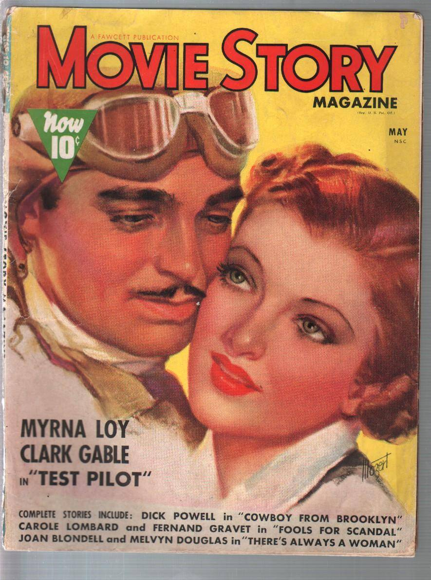 Movie Story 35/1938-Myrna Loy-Clark Gable-Zoe Mozert-pulp style movies-G/VG   [Good]