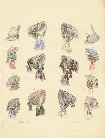 Hand colored engraving of hats and fashion accessories. June 1853. Plate 5. HATS - 1850s) [ ]
