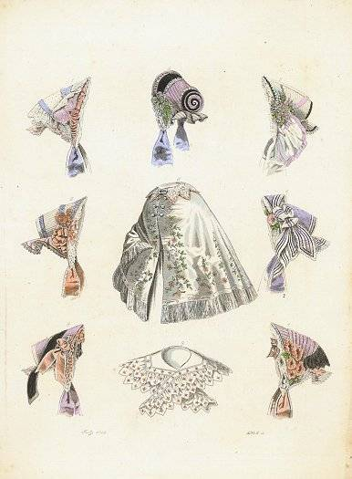 Hand colored engraving of hats and fashion accessories. July 1855. Plate 5. HATS - 1850s) [ ]