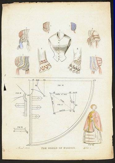 Hand colored engraving of hats and fashion accessories. The World of Fashion. March 1852. Plate 5. HATS - 1850s) [ ]