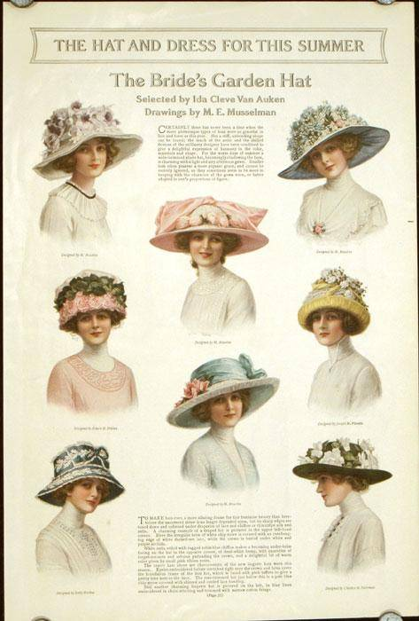 The Hat and Dress for This Summer. The Bride's Garden Hat. 1910s FASHION - HATS) Musselman, M. E. (drawings by). [ ] [Softcover]