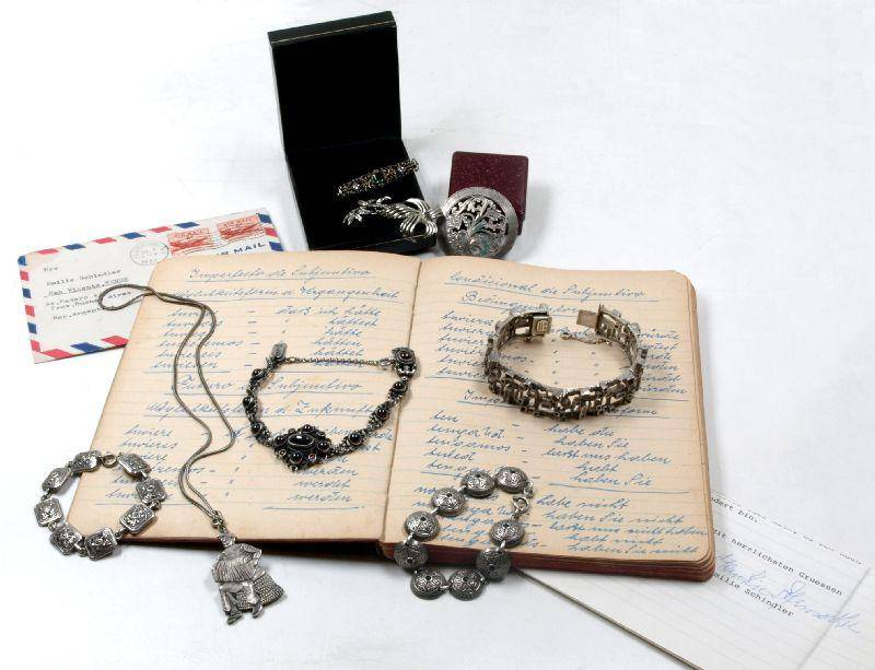 A collection of jewellery and ephemera. Schindler, Oskar - Emilie Schindler, wife of Oskar Schindler (1908-1974), saviours of 1,200 Jewish lives duri