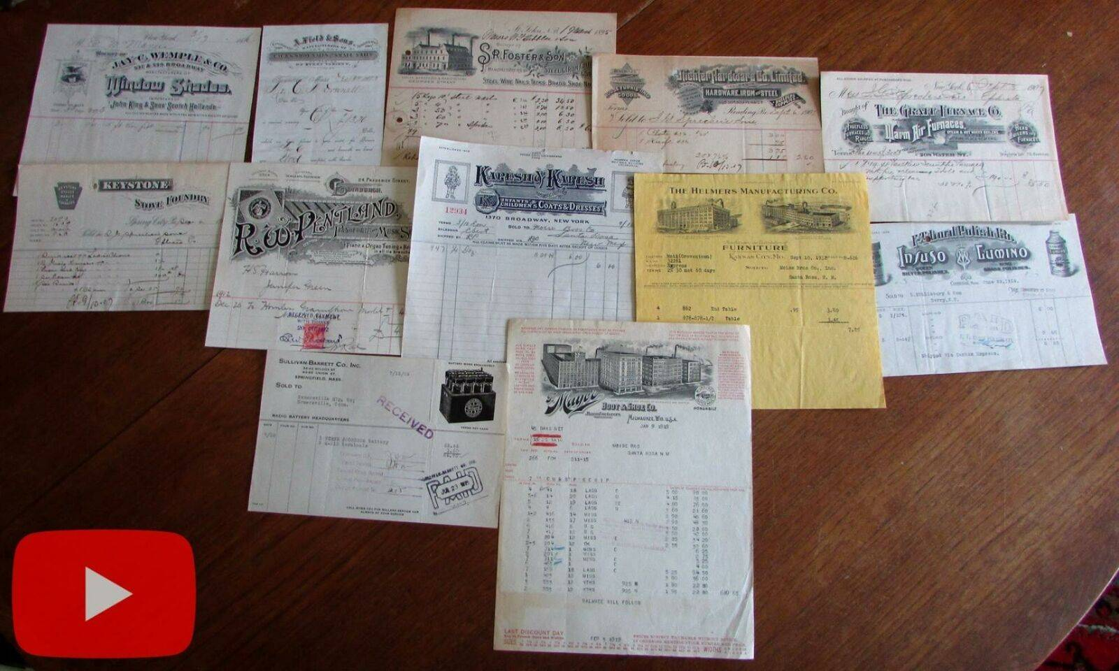 American Commerce 1873-1932 Billheads Receipts Shoes Clothes Furniture lot x 12   [Good]