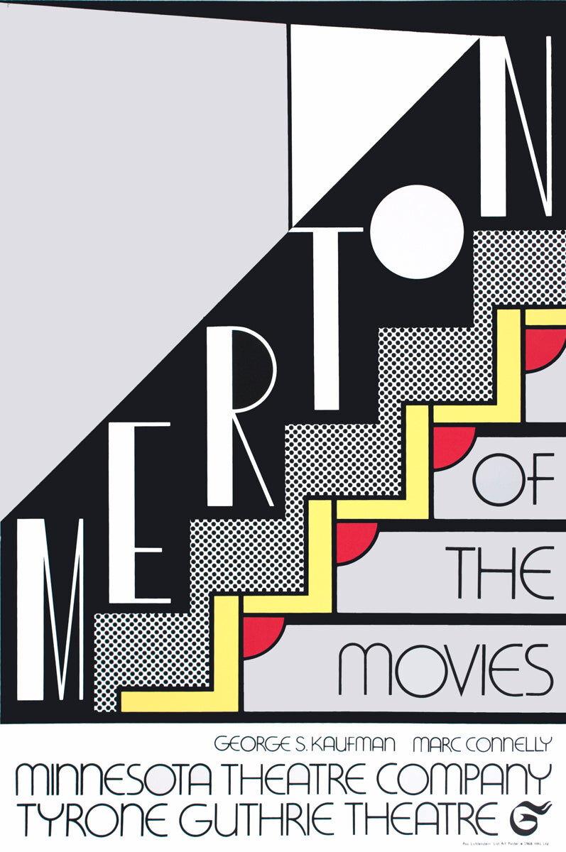 """ROY LICHTENSTEIN Merton of The Movies 30"""" x 20"""" Foil Print 1968 Pop Art Black & White, Gray Lichtenstein, Roy [Fine]"""