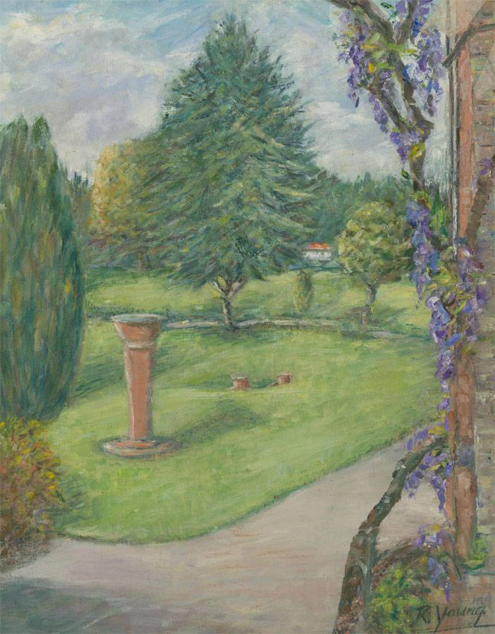 Renee Young - Signed 20th Century Oil, Garden Scene with Wisteria Renee Young [ ]