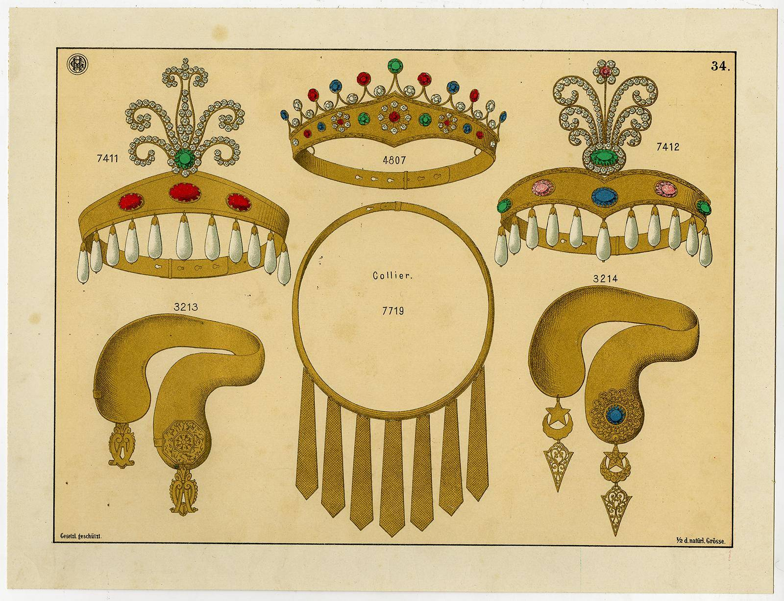 Antique Print-CROWN-TIARA-GOLD-GEMSTONE-JEWELLERY-PLATE 34-Anonymous-c. 1890   [Good]