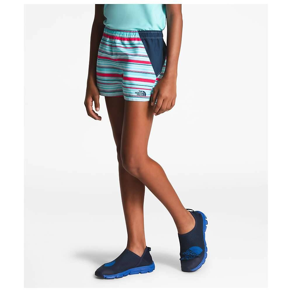 The North Face Girls' Class V Water 3 Inch Short - Small - Mint Blue Multi Thin Stripe Print