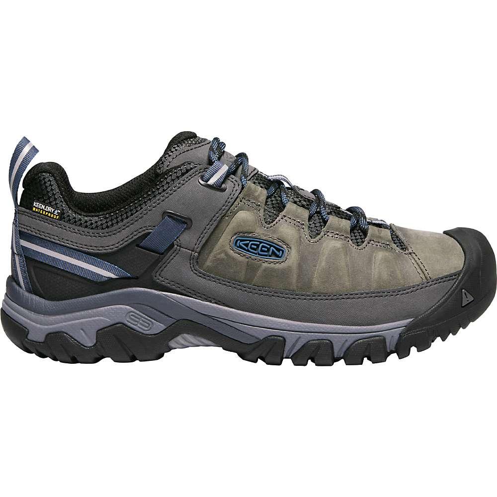 KEEN Men's Targhee 3 Rugged Low Height Waterproof Hiking Shoes - 10 - Steel Grey / Captains Blue
