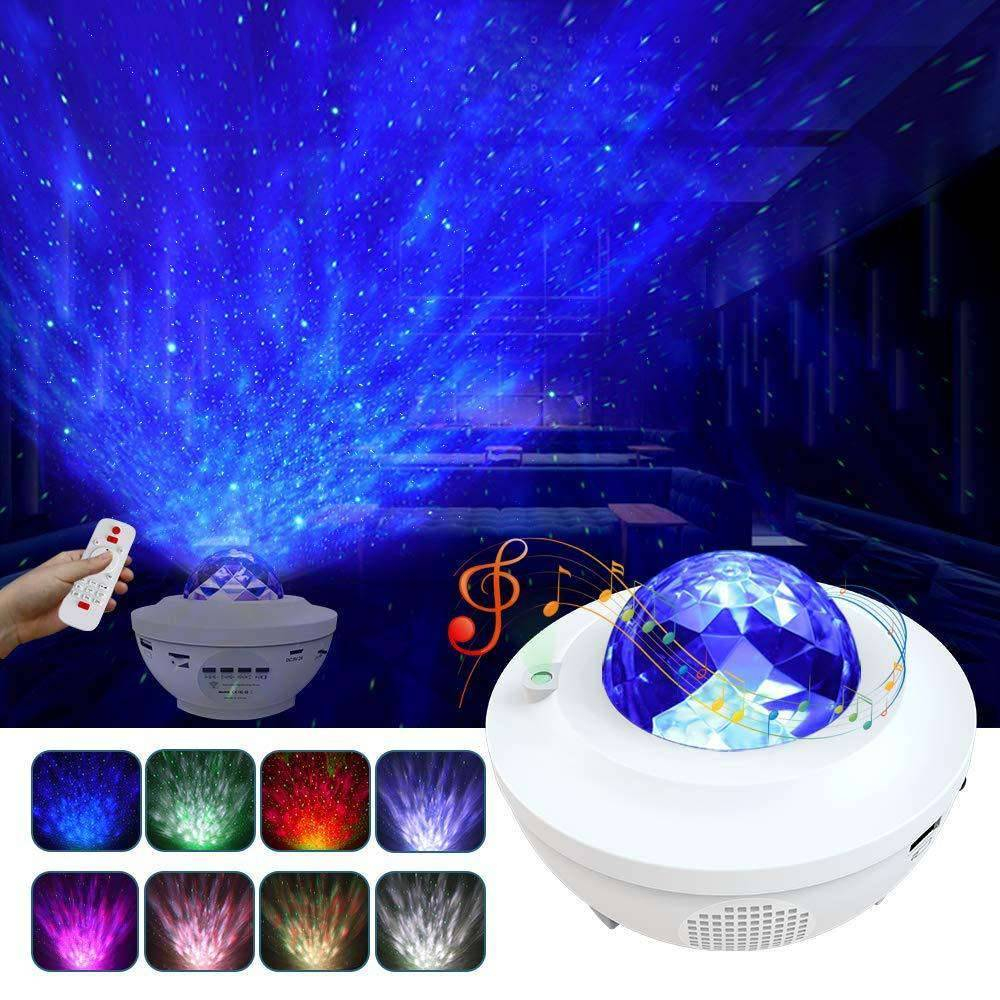 Elecstars Store Ocean Wave Projector Night Light Bluetooth Speaker Remote Voice Control for Bedroom Nighttime Sleep Aid