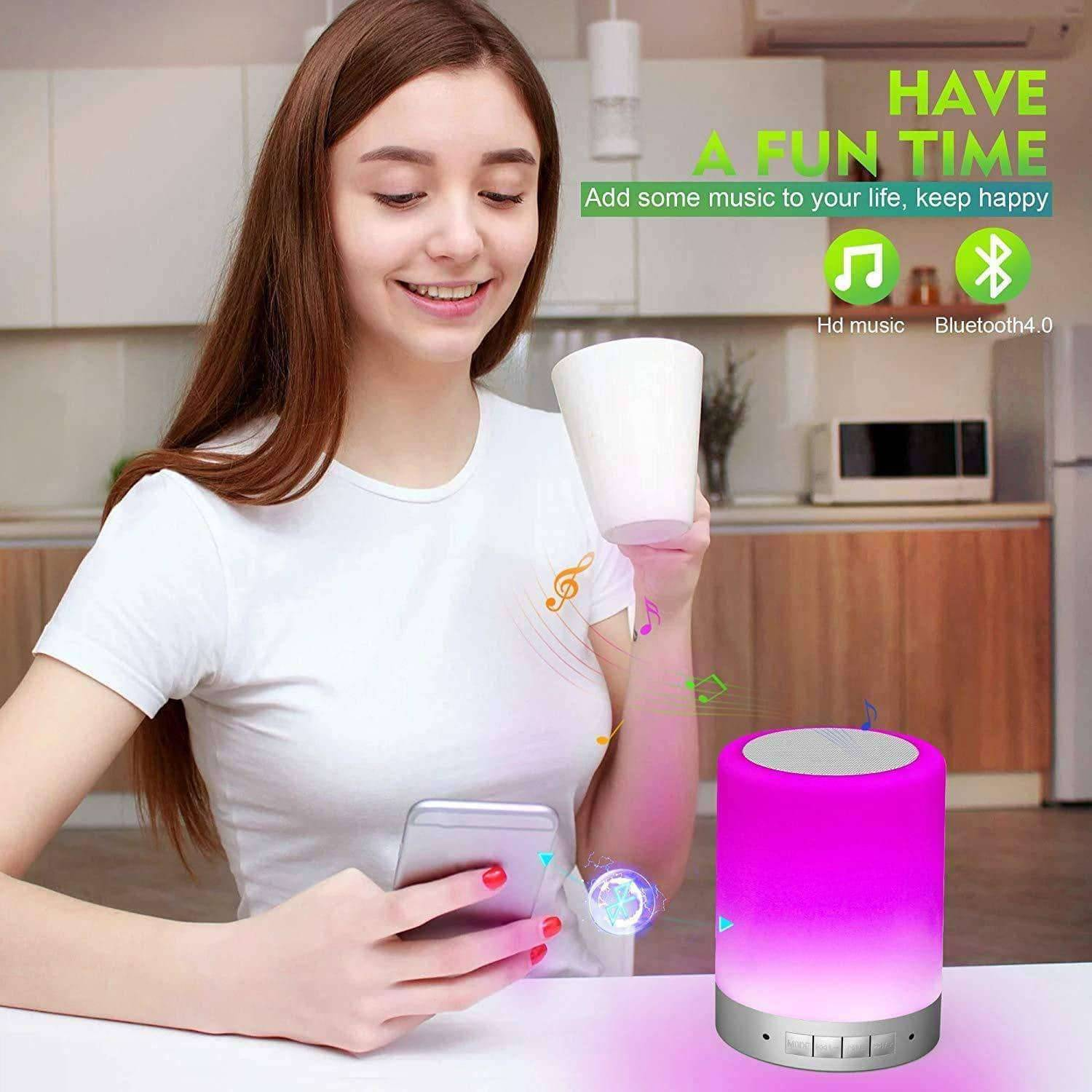 Elecstars Store Touch Lamps Bluetooth Speakerphone with Smart Music Player Dimmable Nighttime Sleep Aid