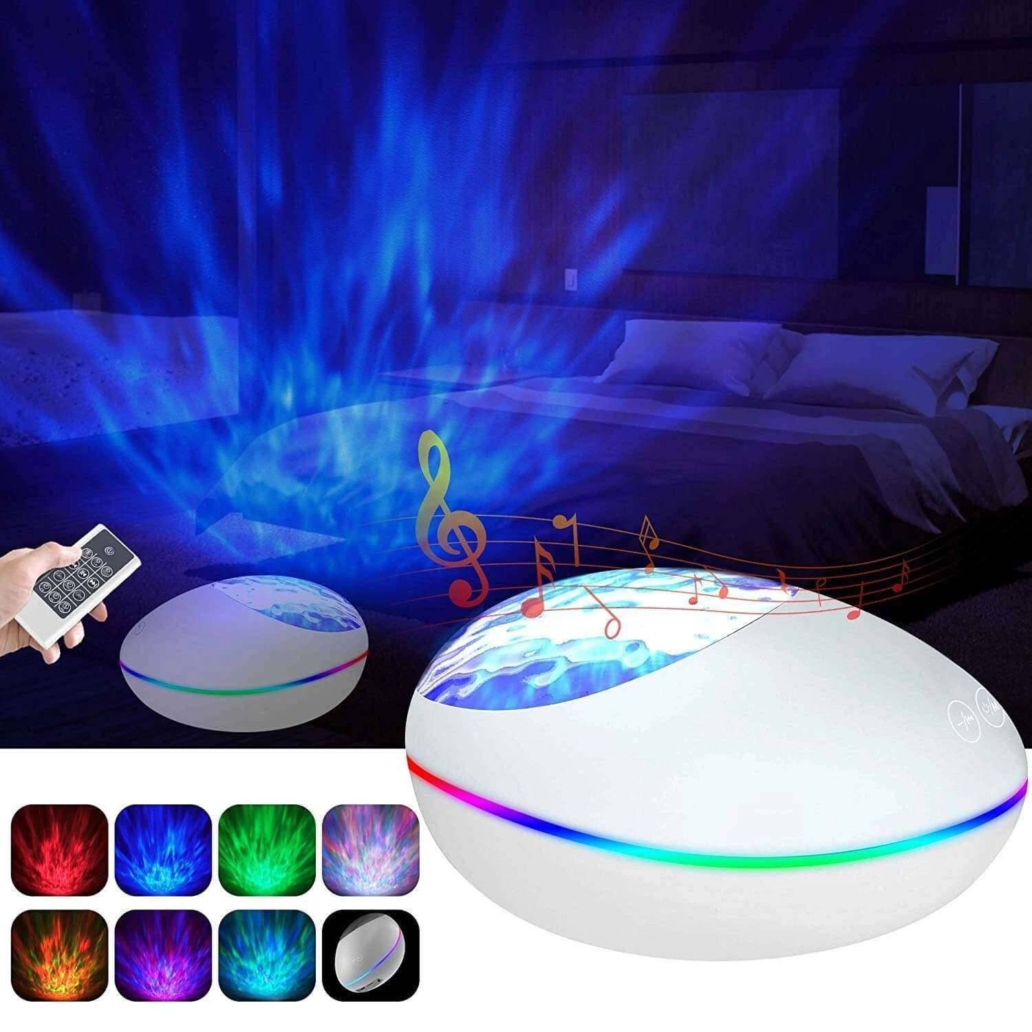 Elecstars Store Ocean Wave Projector Bluetooth Music Speaker Voice Control for Bedroom Toddler Nighttime Sleep Aids