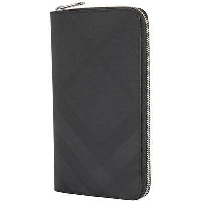 Burberry London Check And Leather Phone Wallet - Gray - Burberry Wallets