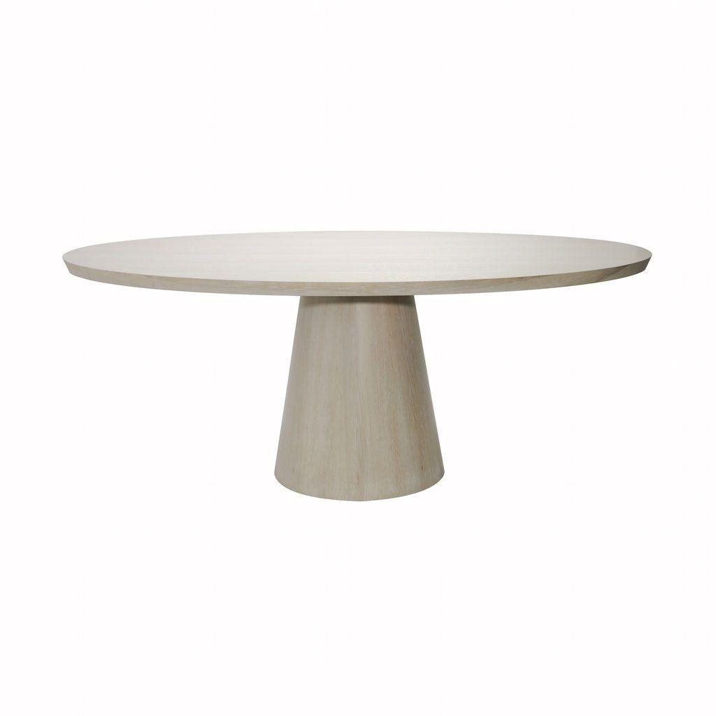 Worlds Away Jefferson Cerused Oak Oval Dining Table