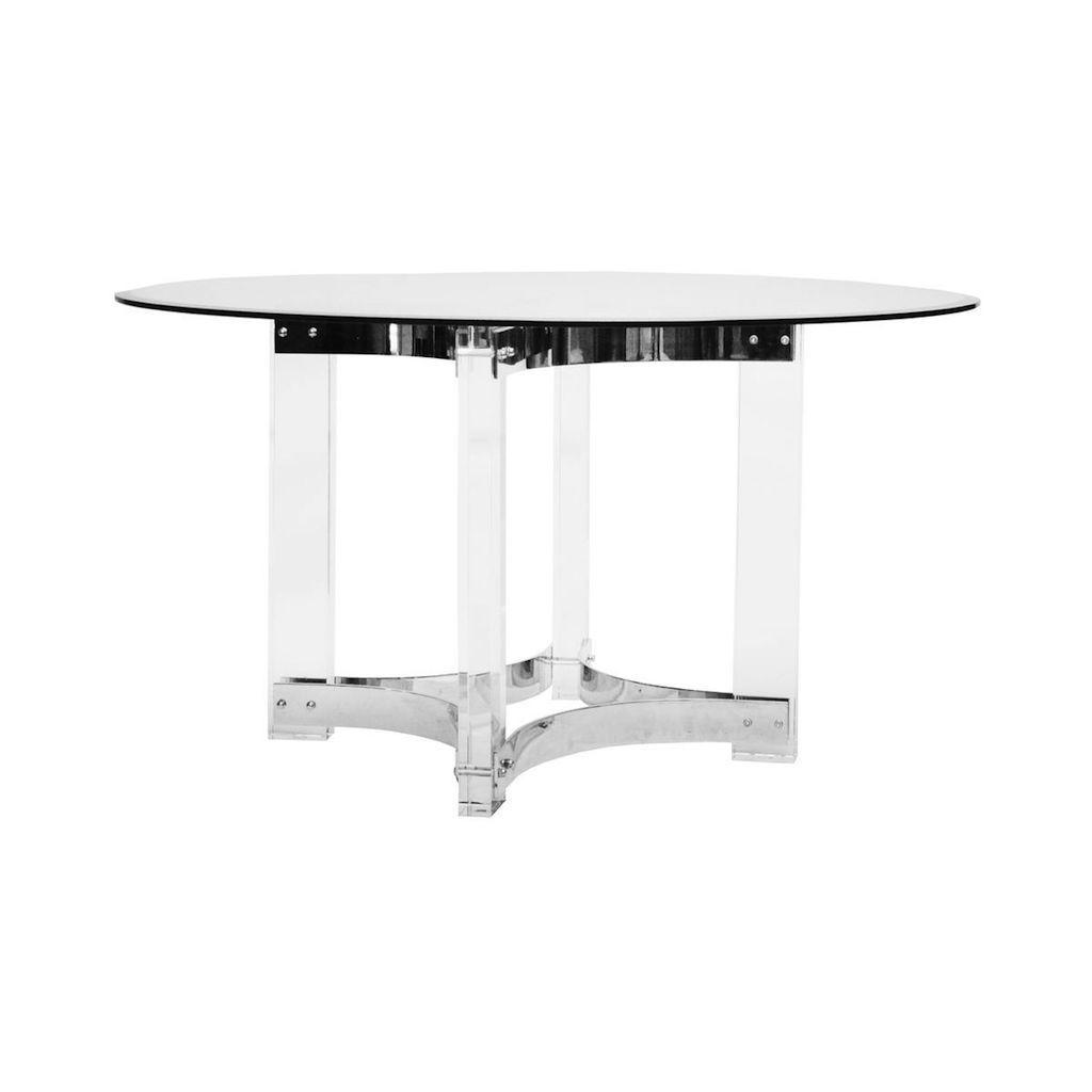 Worlds Away Hendrix Acrylic & Nickel Round Dining Table