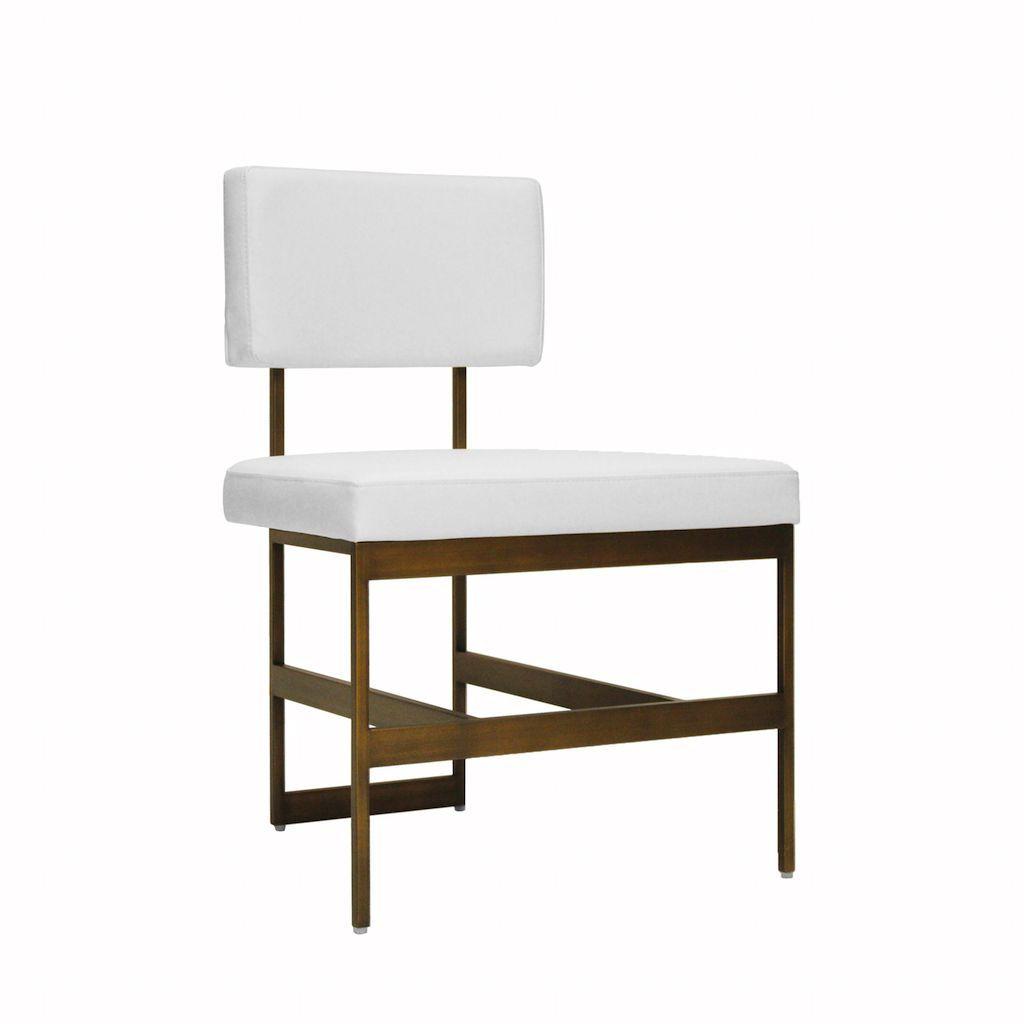 Worlds Away Shaw White Vinyl & Bronze Dining Chair